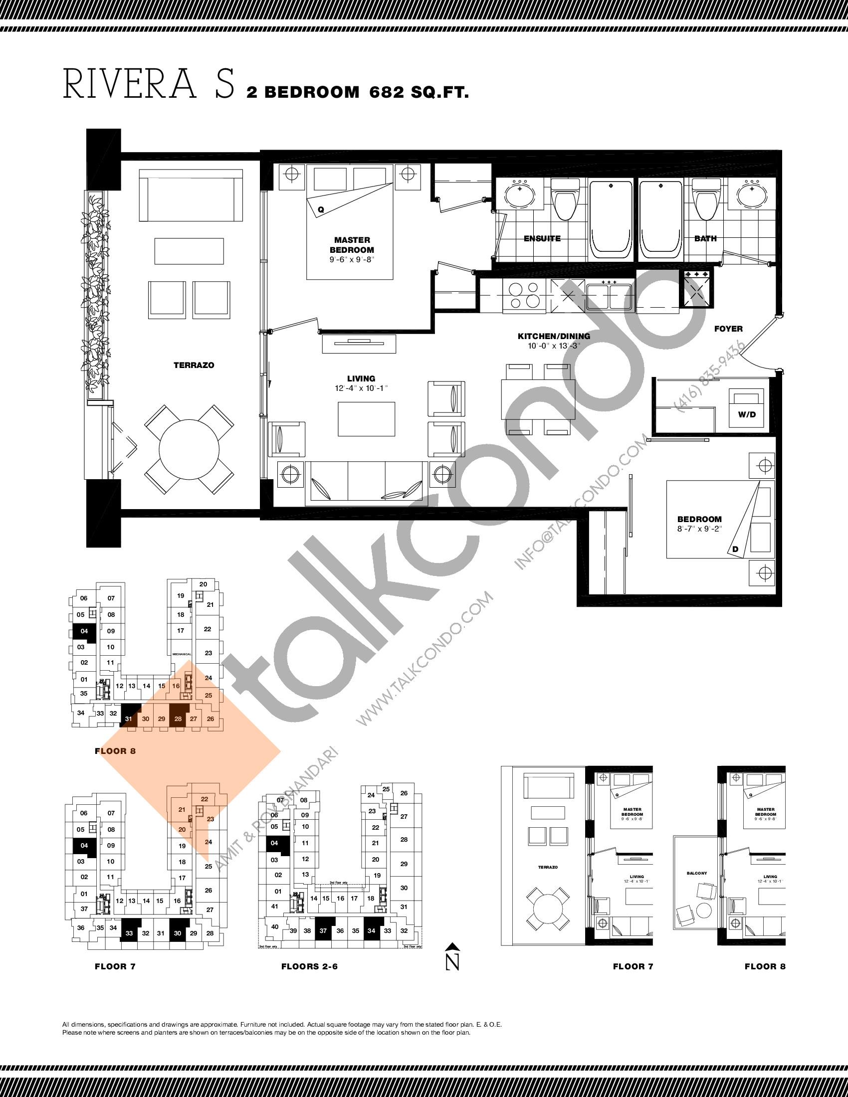 Rivera S Floor Plan at Residenze Palazzo at Treviso 3 Condos - 682 sq.ft