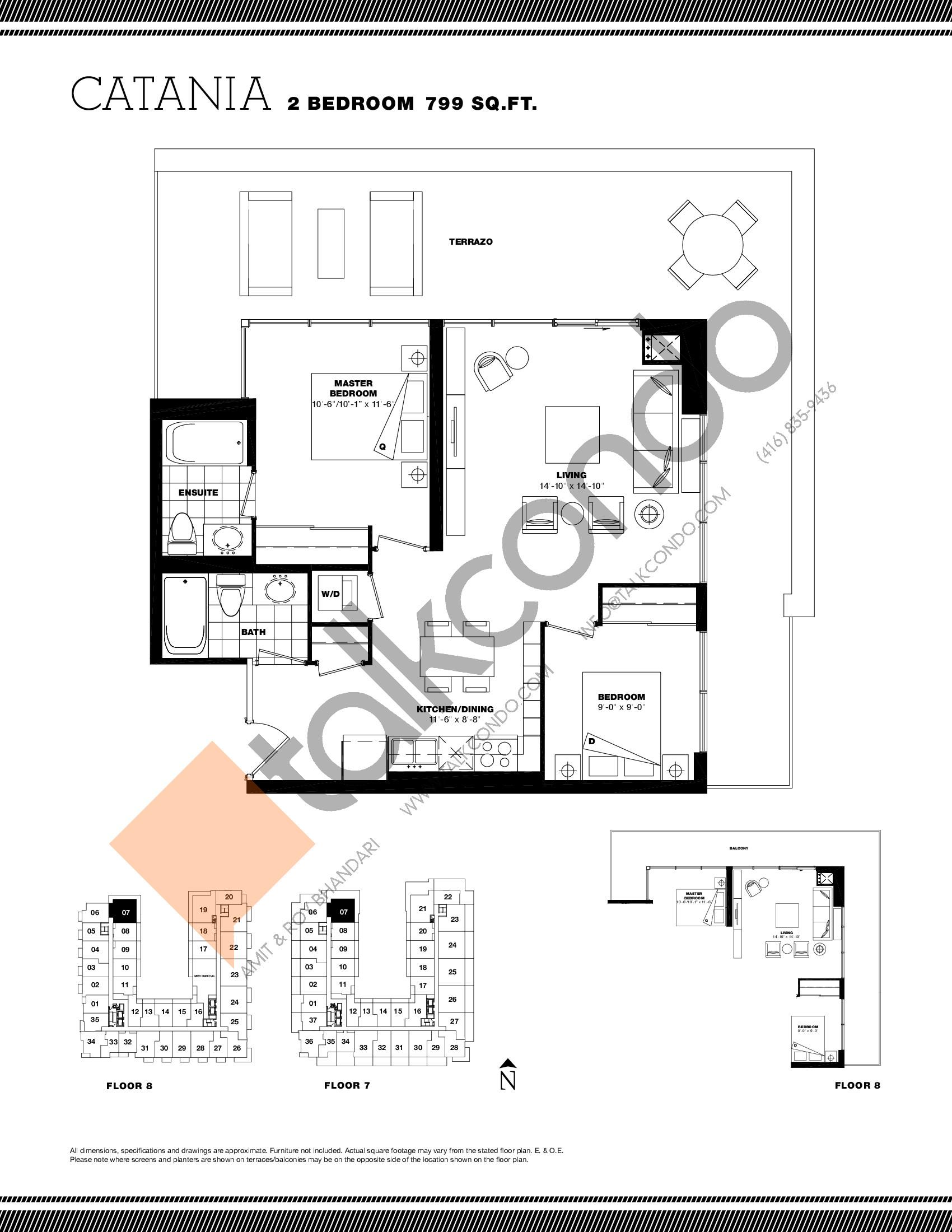 Catania Floor Plan at Residenze Palazzo at Treviso 3 Condos - 799 sq.ft