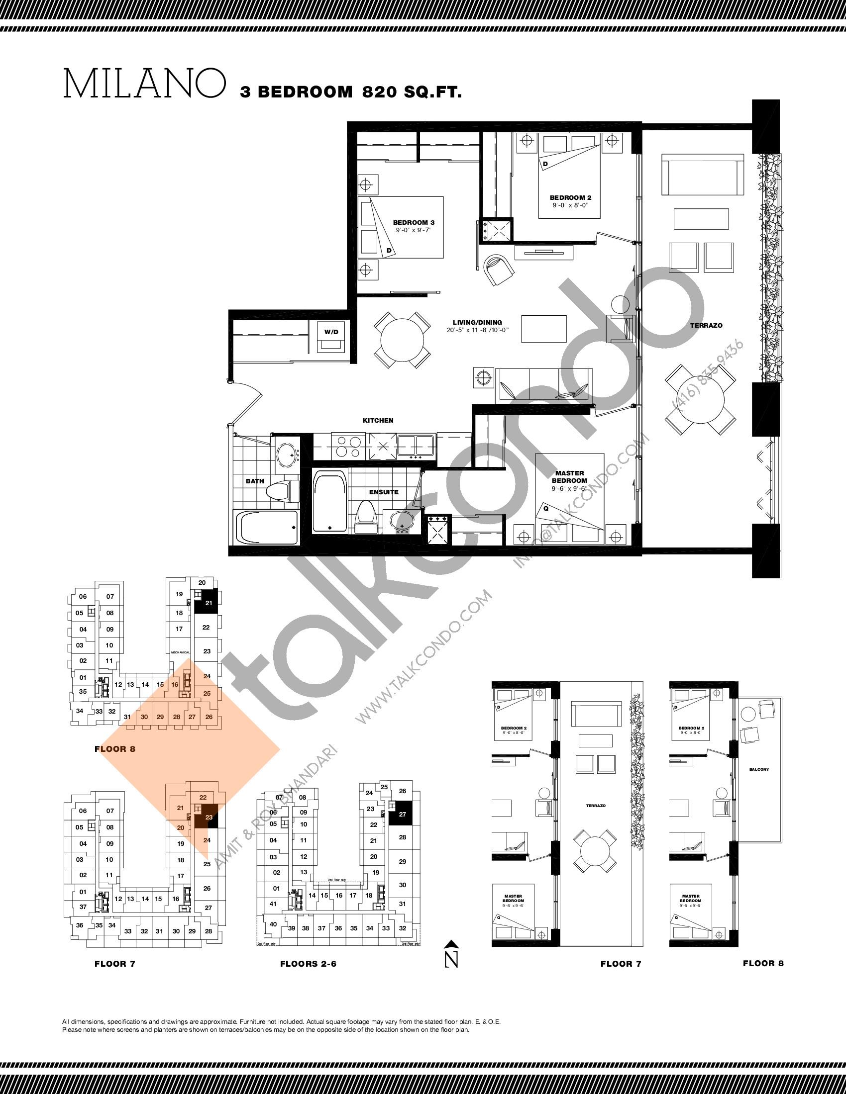 Milano Floor Plan at Residenze Palazzo at Treviso 3 Condos - 820 sq.ft