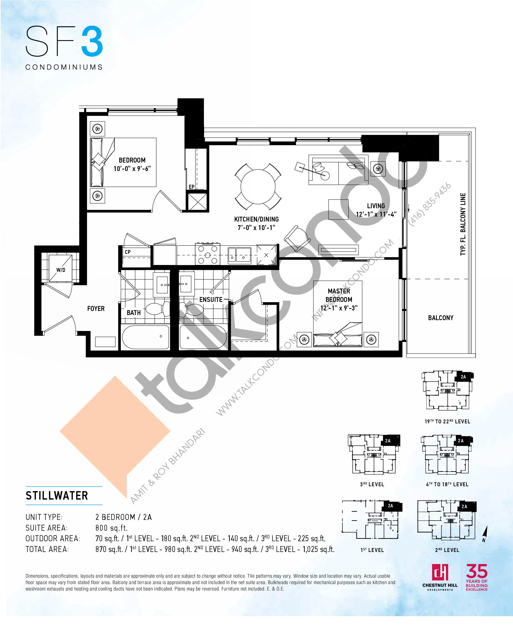 Stillwater Floor Plan at SF3 Condos - 800 sq.ft