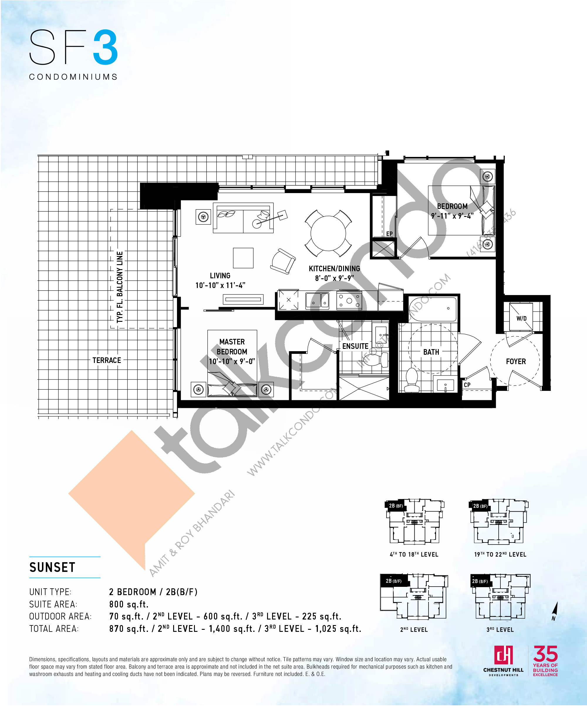 Sunset Floor Plan at SF3 Condos - 800 sq.ft