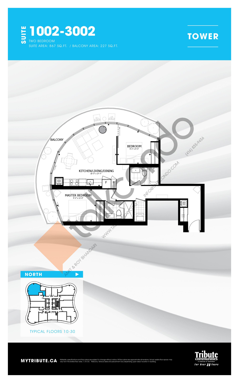 1002-3002 Floor Plan at Stanley Condos - 867 sq.ft