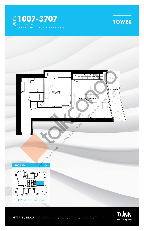 1007-3707 Floor Plan at Stanley Condos - 559 sq.ft