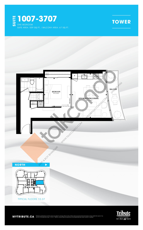 312-712 Floor Plan at Stanley Condos - 669 sq.ft