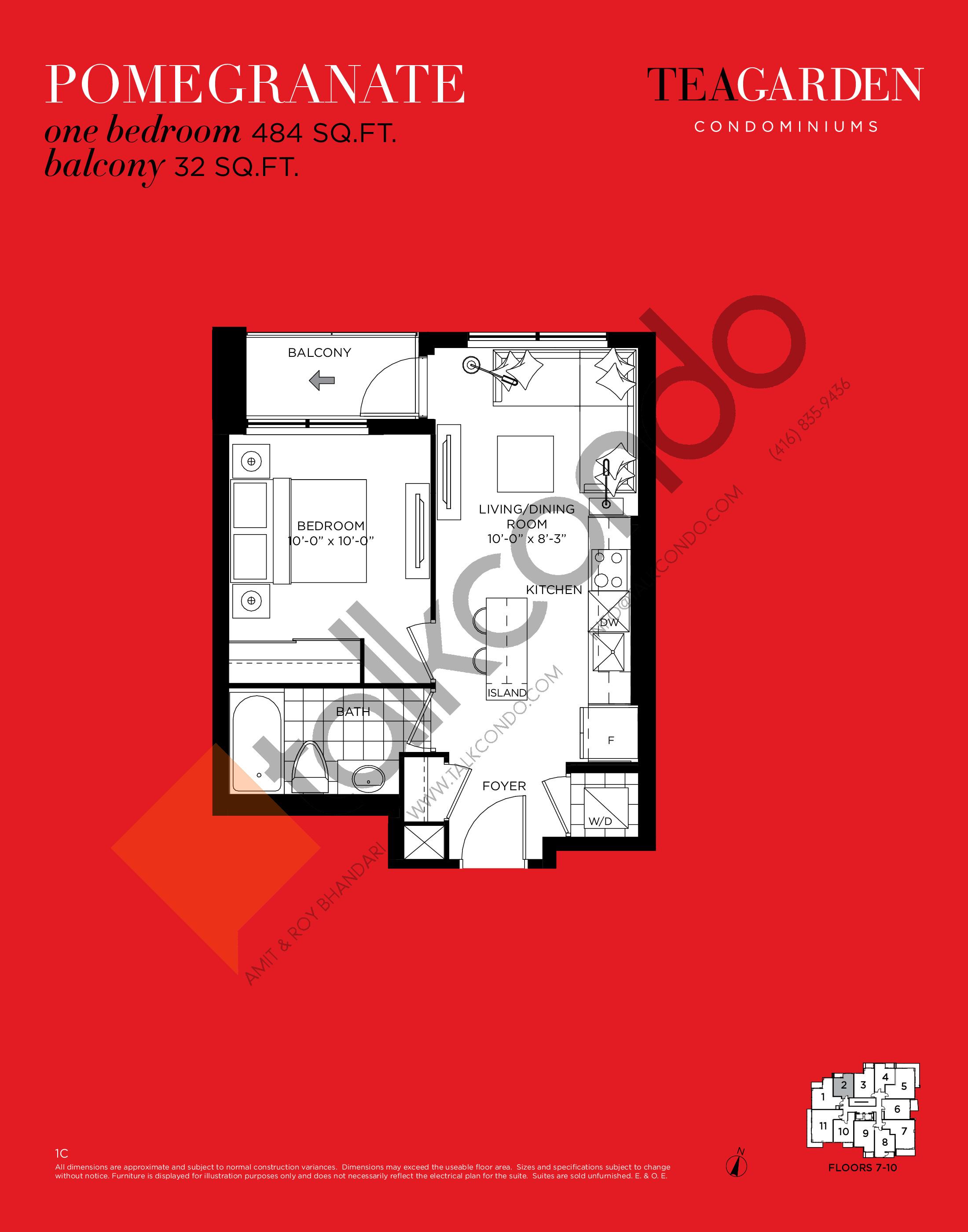 Pomegranate Floor Plan at Tea Garden Condos - 484 sq.ft