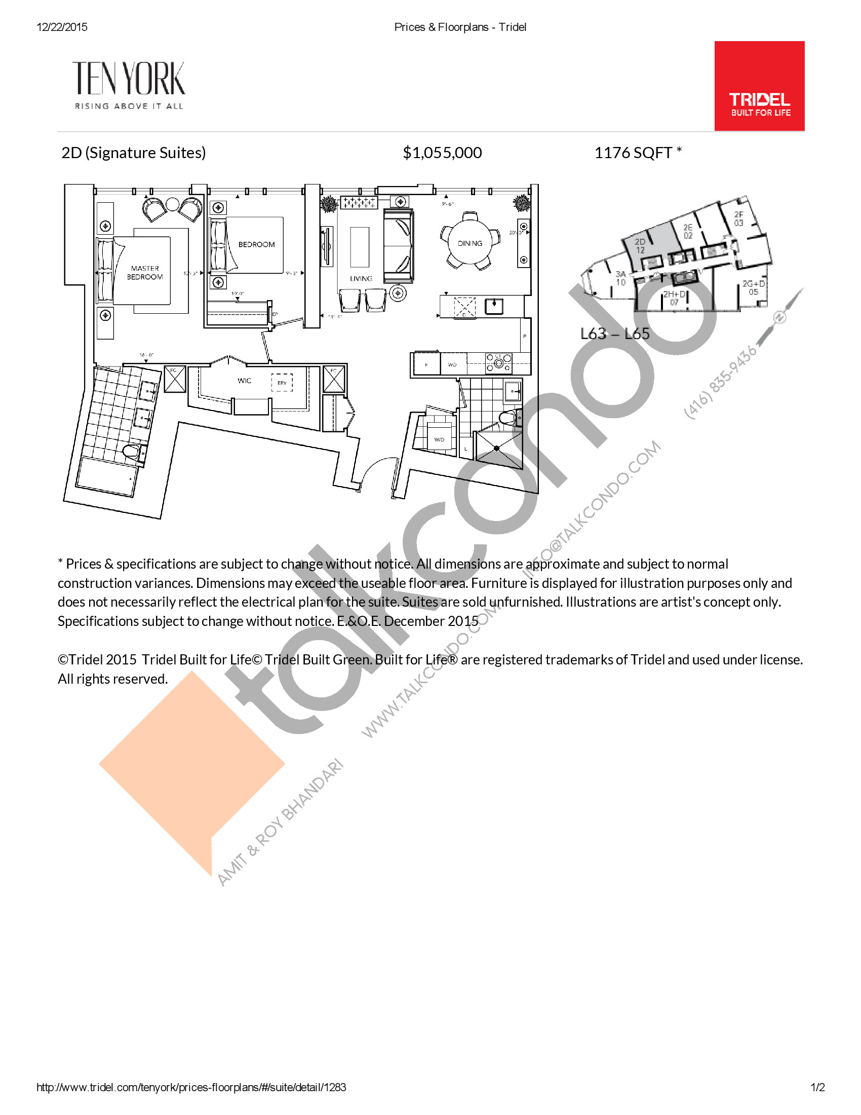 2D Floor Plan at Ten York Condos - 1176 sq.ft