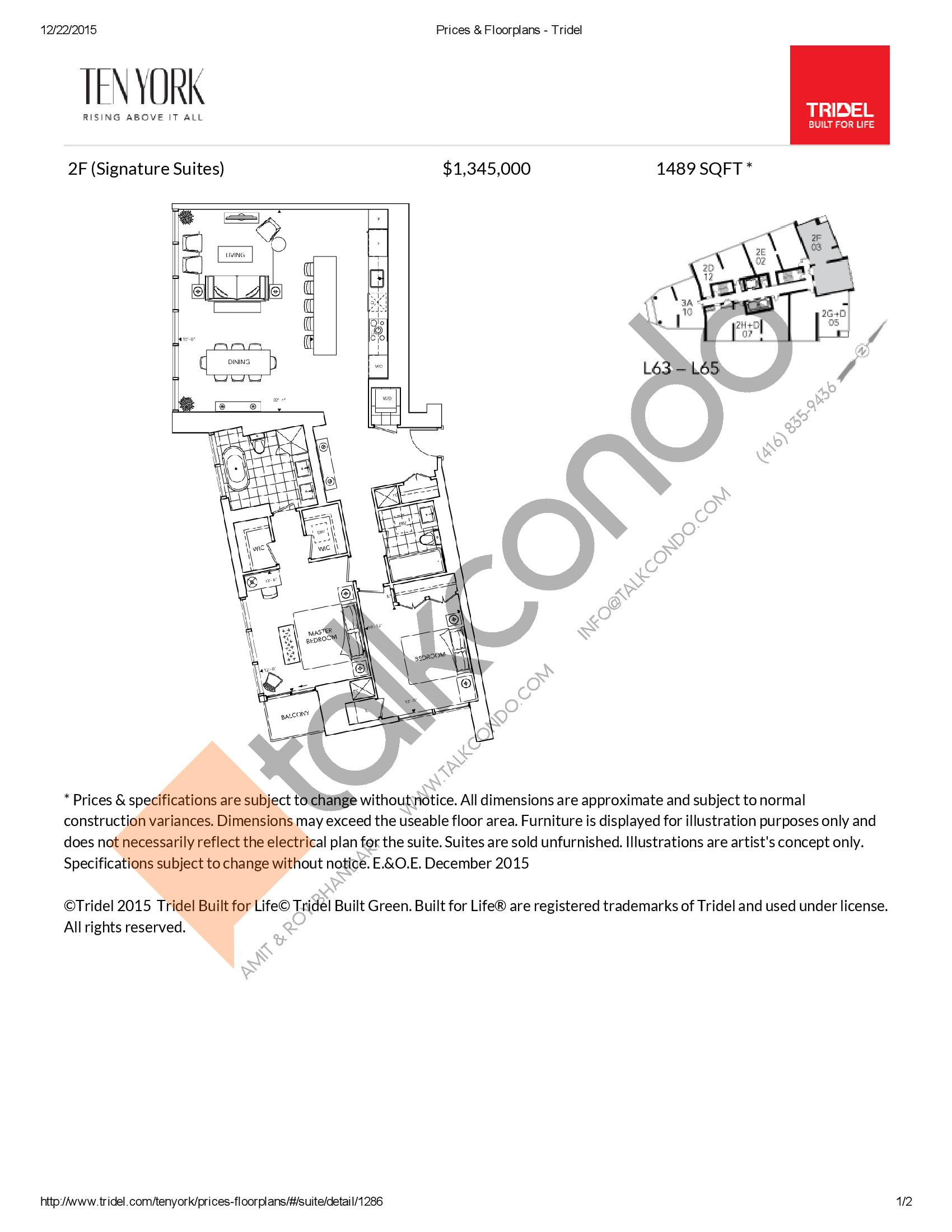 2F Floor Plan at Ten York Condos - 1489 sq.ft