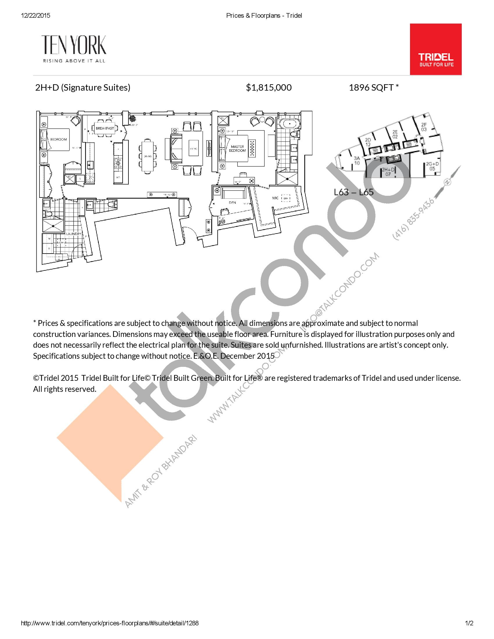 2H+D Floor Plan at Ten York Condos - 1896 sq.ft