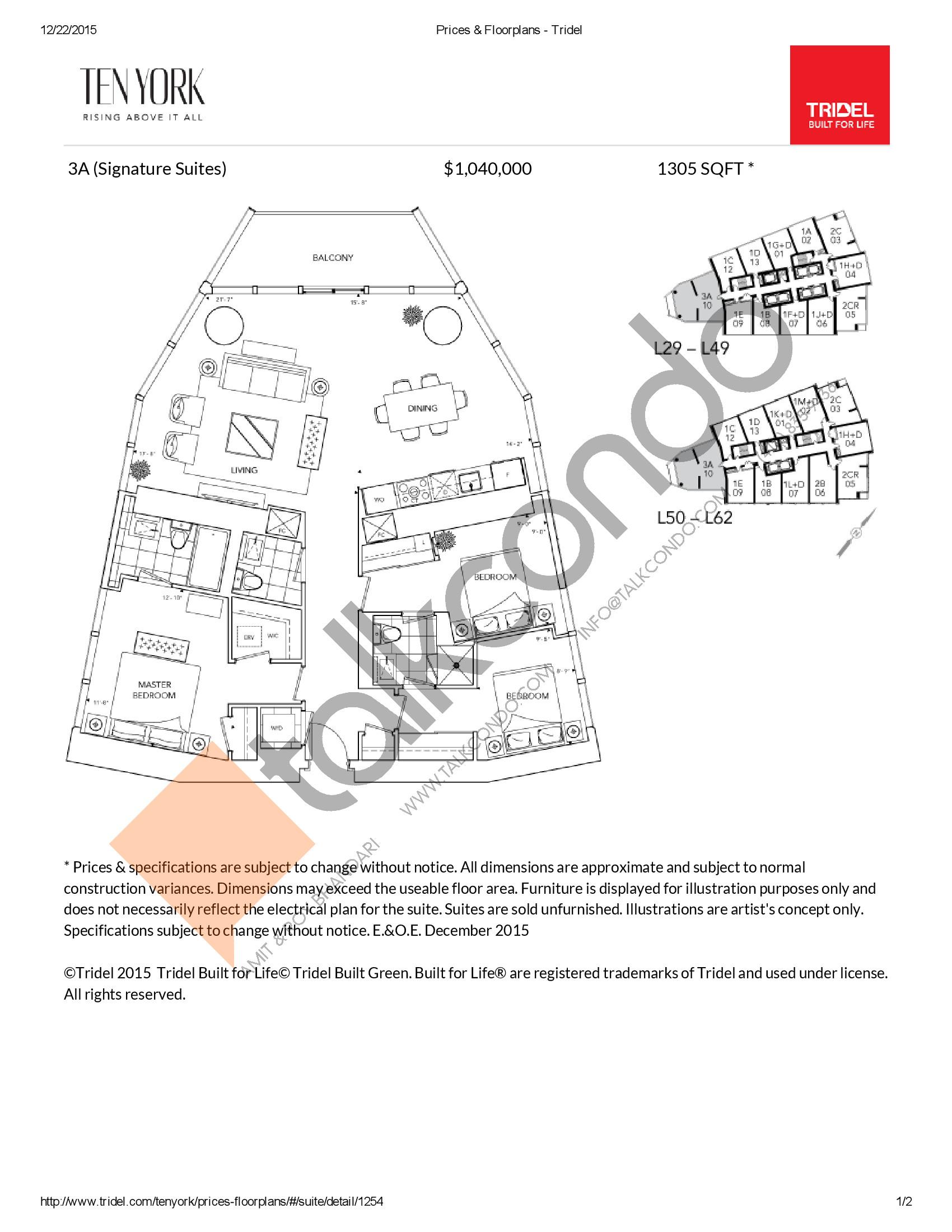 3A Floor Plan at Ten York Condos - 1305 sq.ft