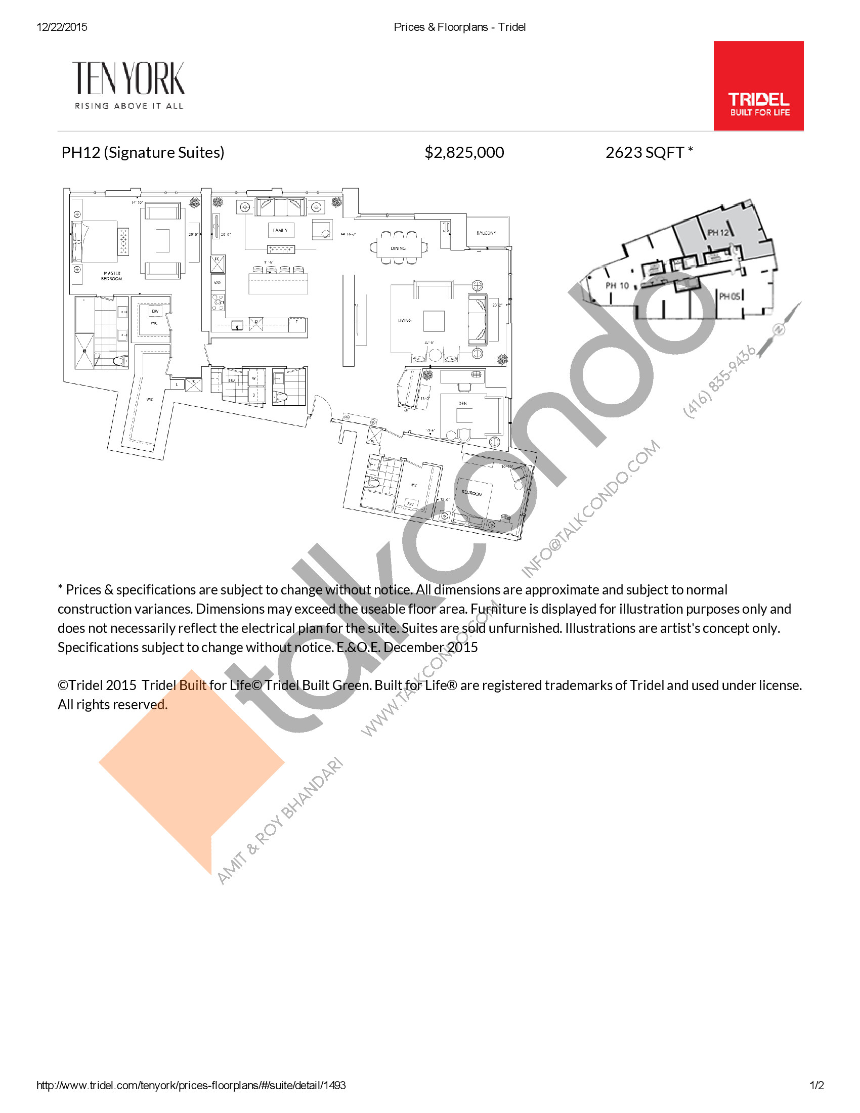 PH12 Floor Plan at Ten York Condos - 2623 sq.ft
