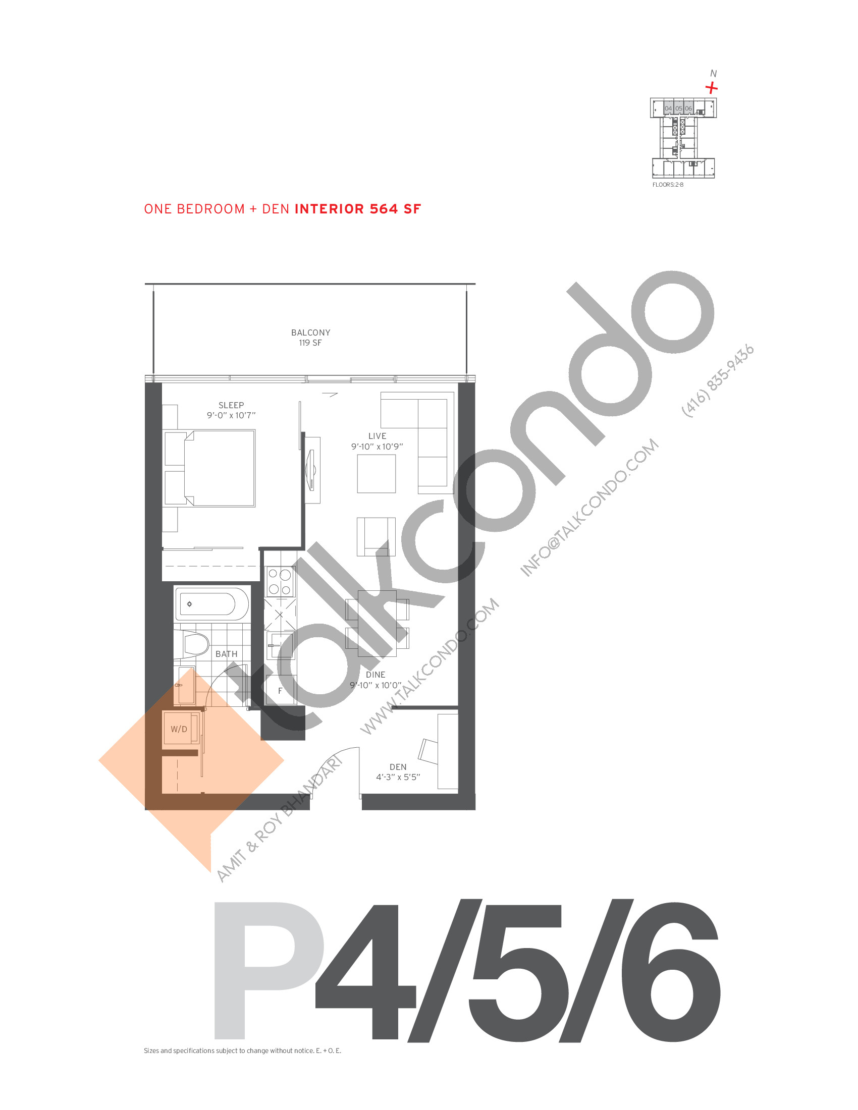 P4/5/6 Floor Plan at 155 Redpath Condos - 564 sq.ft