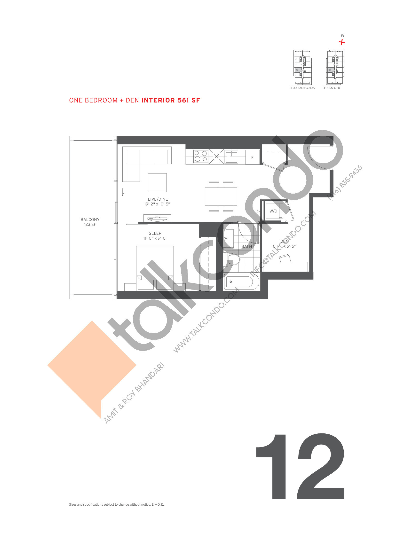12 Floor Plan at 155 Redpath Condos - 561 sq.ft