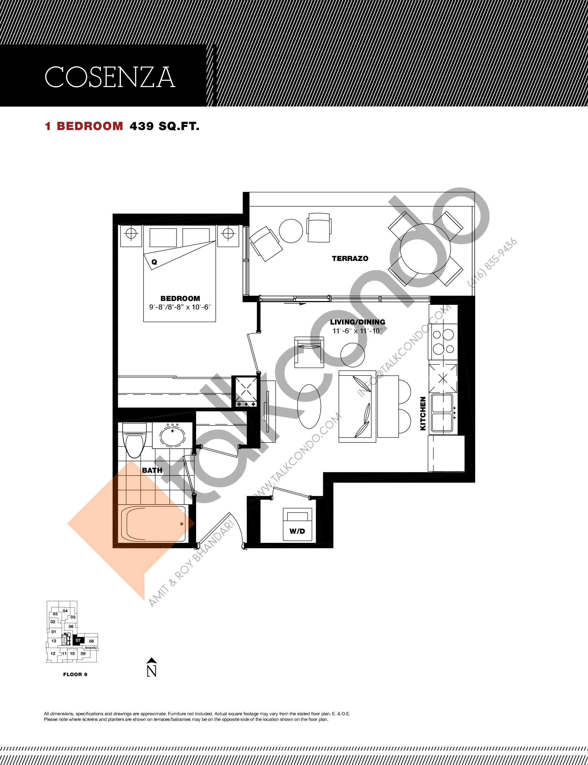 Cosenza Floor Plan at Residenze Palazzo at Treviso 3 Condos - 439 sq.ft