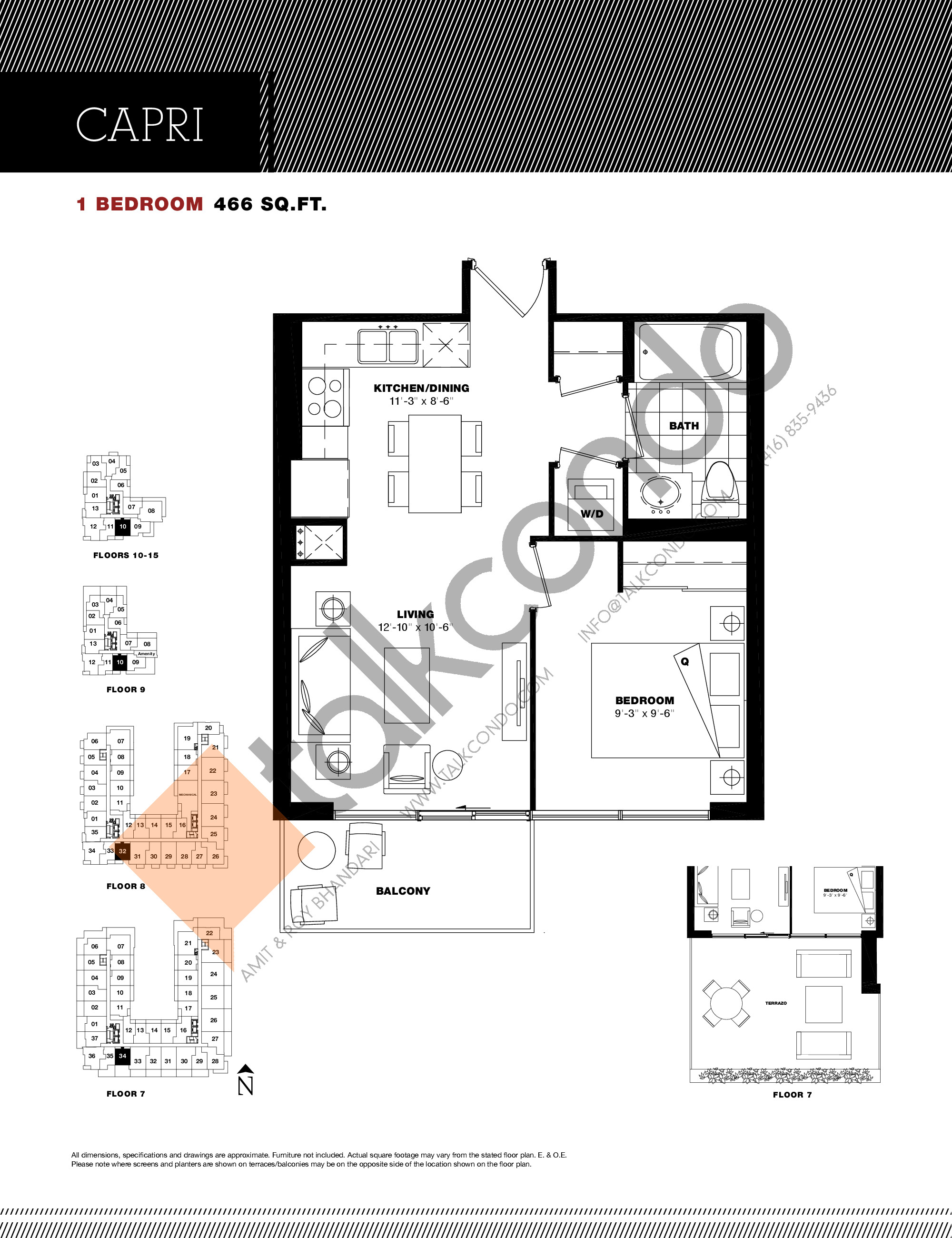 Capri Floor Plan at Residenze Palazzo at Treviso 3 Condos - 466 sq.ft