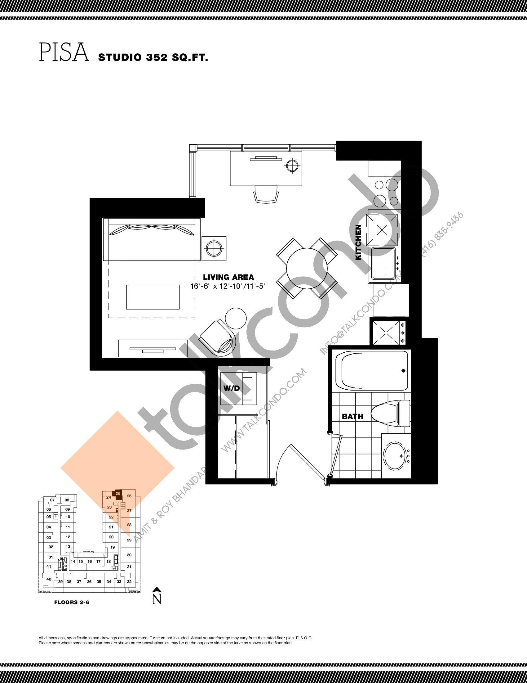 Pisa Floor Plan at Residenze Palazzo at Treviso 3 Condos - 352 sq.ft