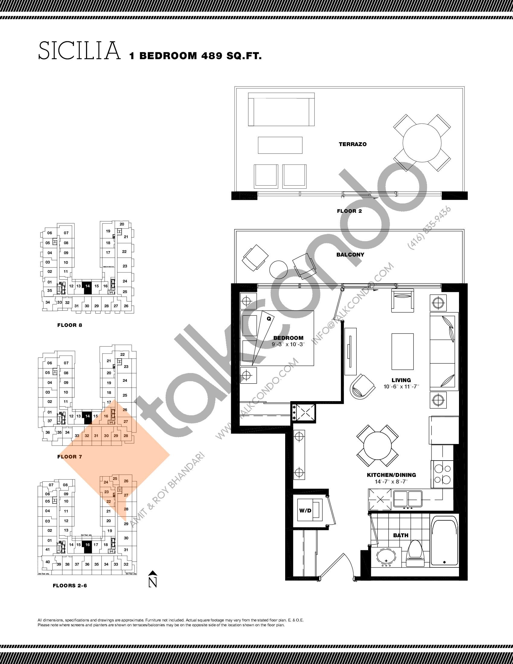 Sicilia Floor Plan at Residenze Palazzo at Treviso 3 Condos - 489 sq.ft