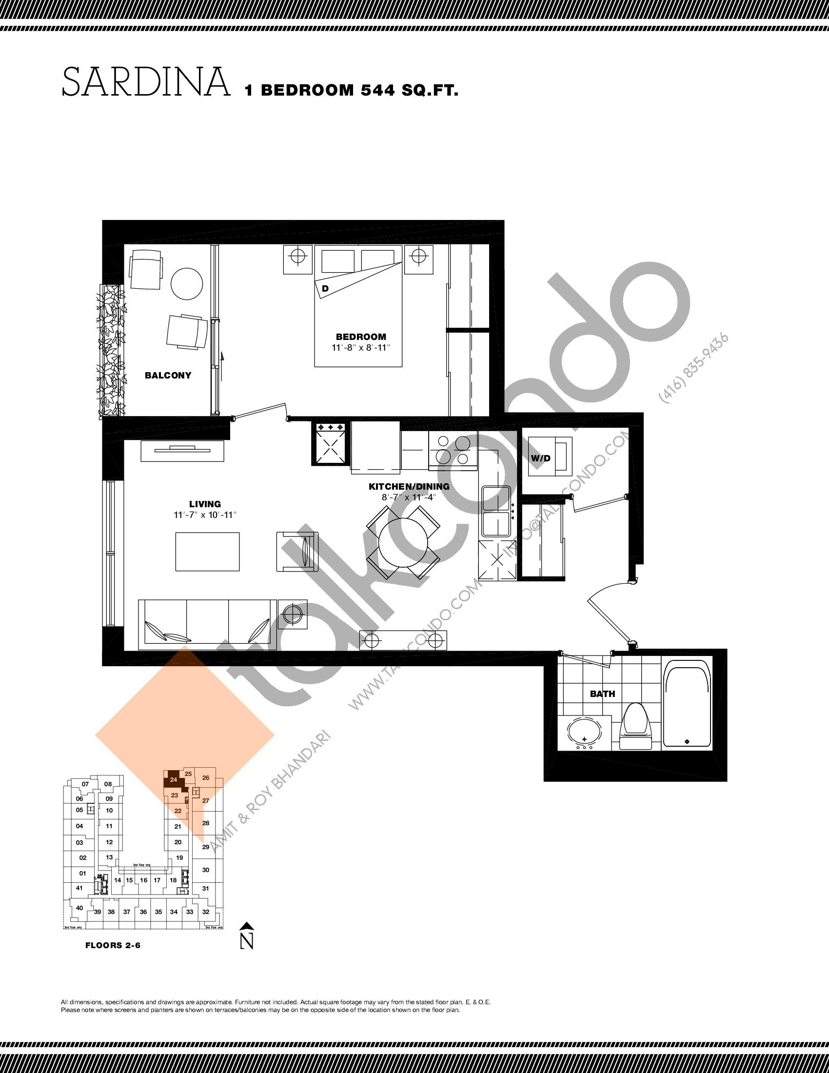 Sardina Floor Plan at Residenze Palazzo at Treviso 3 Condos - 544 sq.ft