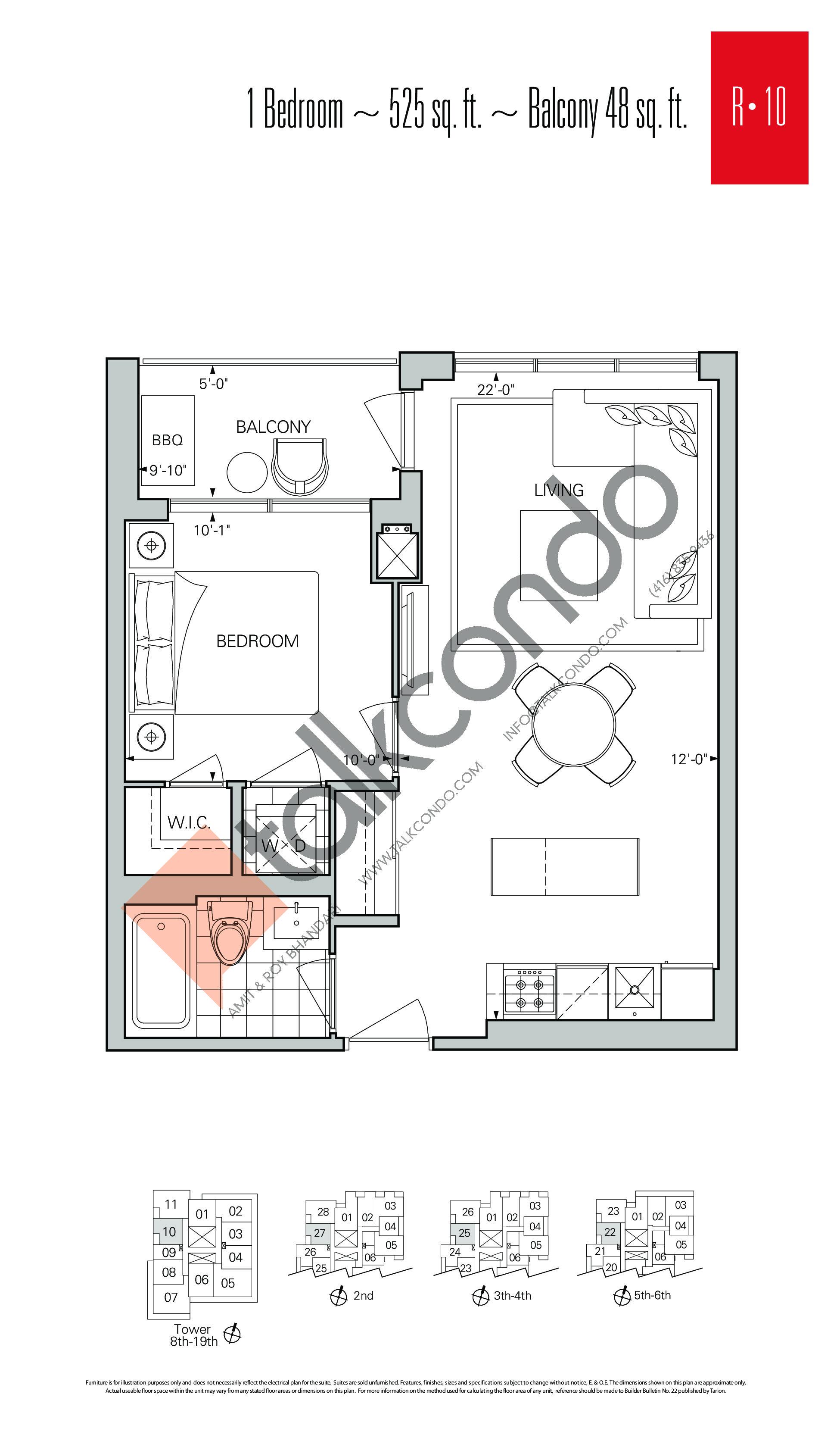 R-10 Floor Plan at Rise Condos - 525 sq.ft