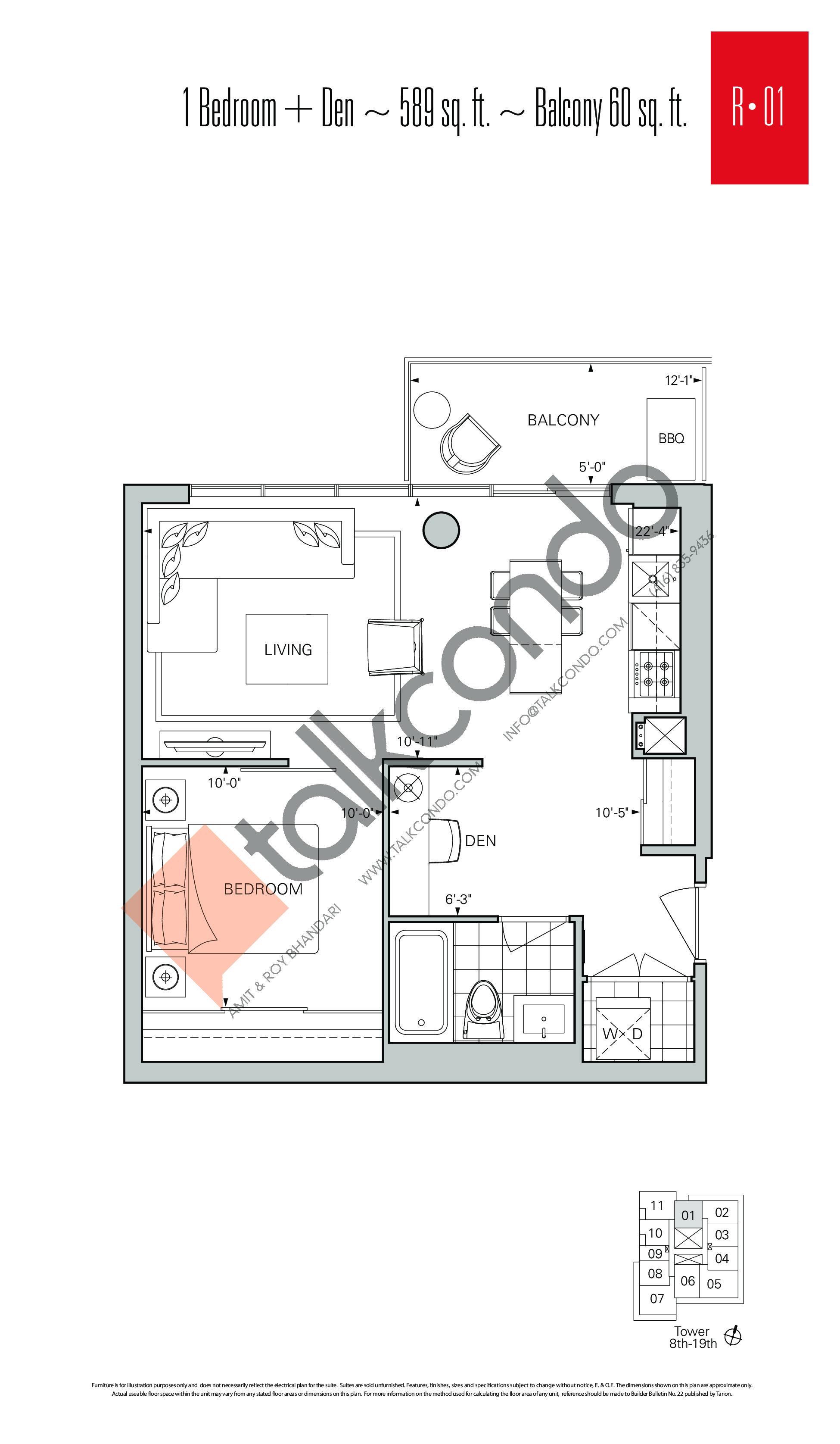 R-01 Floor Plan at Rise Condos - 589 sq.ft
