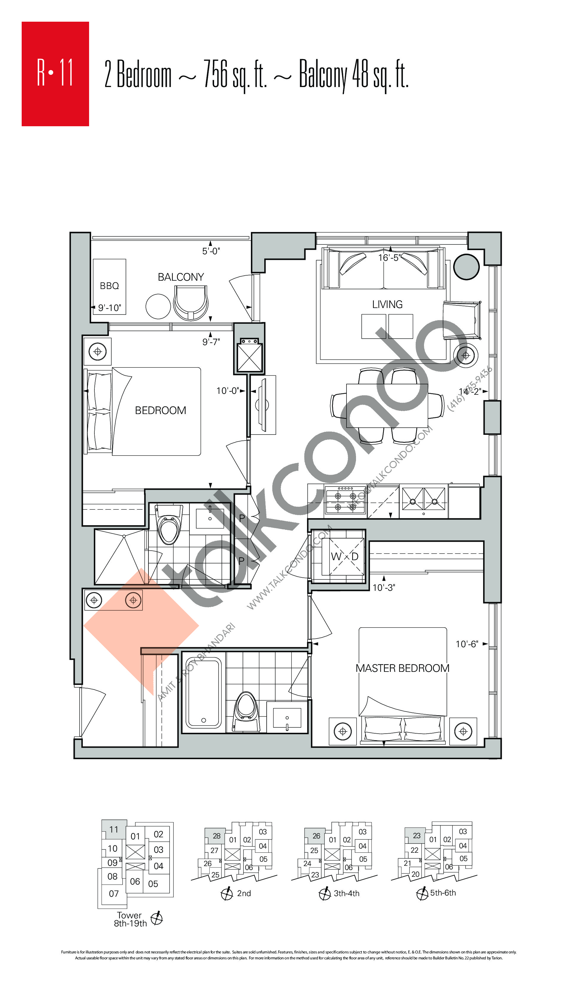 R-11 Floor Plan at Rise Condos - 756 sq.ft
