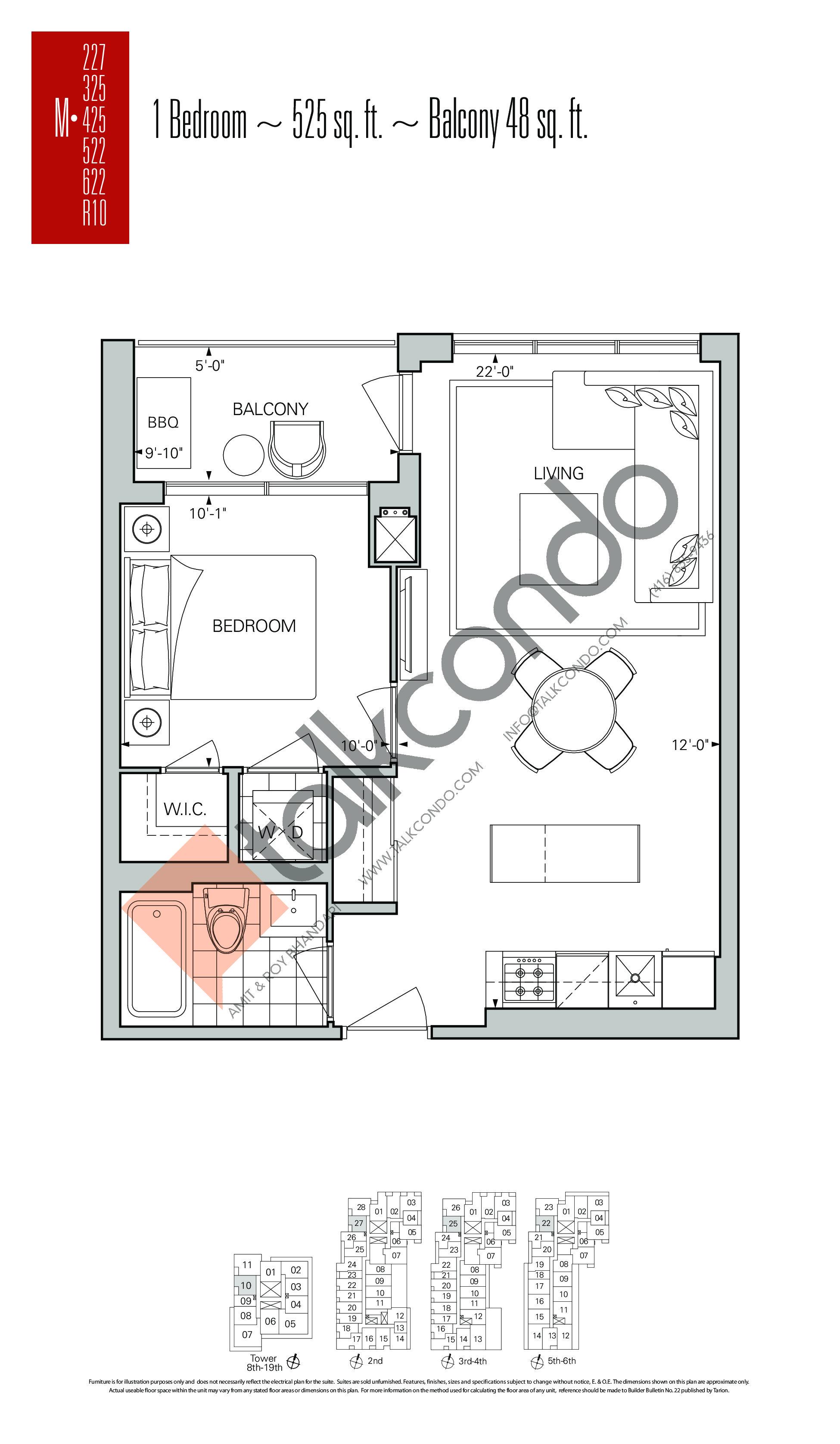 M-227   M-325   M-425   M-522   M-622   M-R10 Floor Plan at Rise Condos - 525 sq.ft