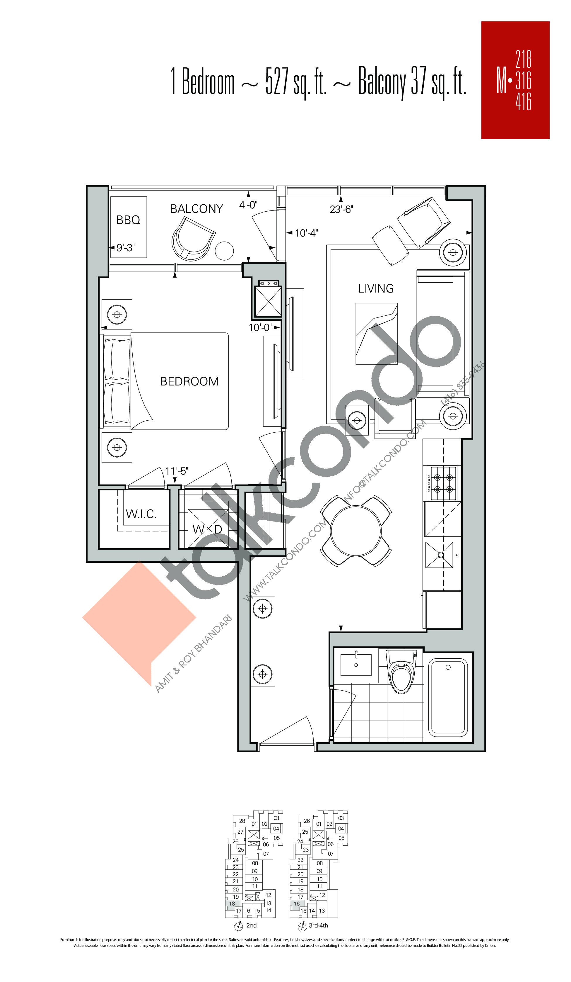 M-218   M-316   M-416 Floor Plan at Rise Condos - 527 sq.ft