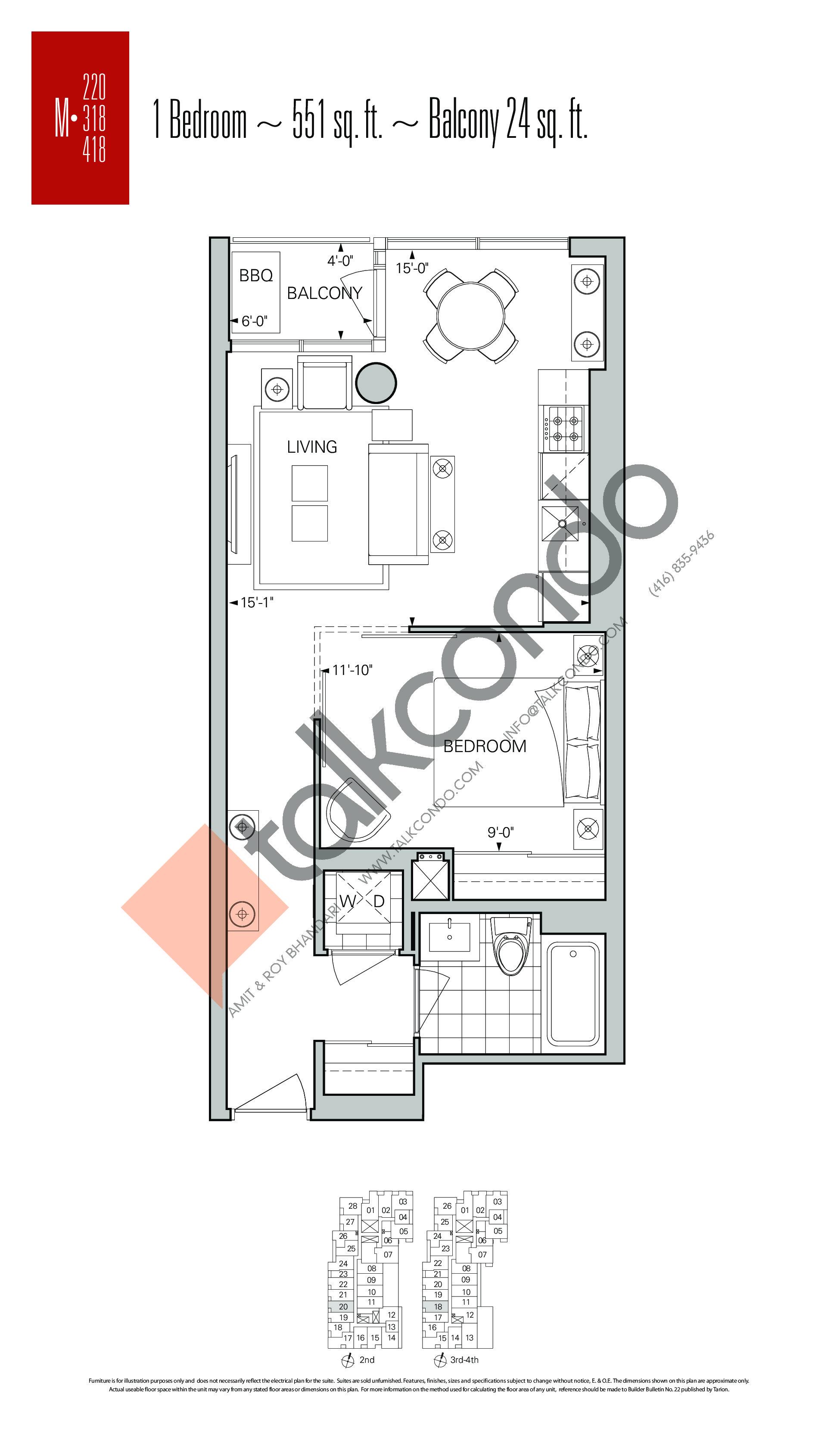 M-220 | M-318 | M-418 Floor Plan at Rise Condos - 551 sq.ft