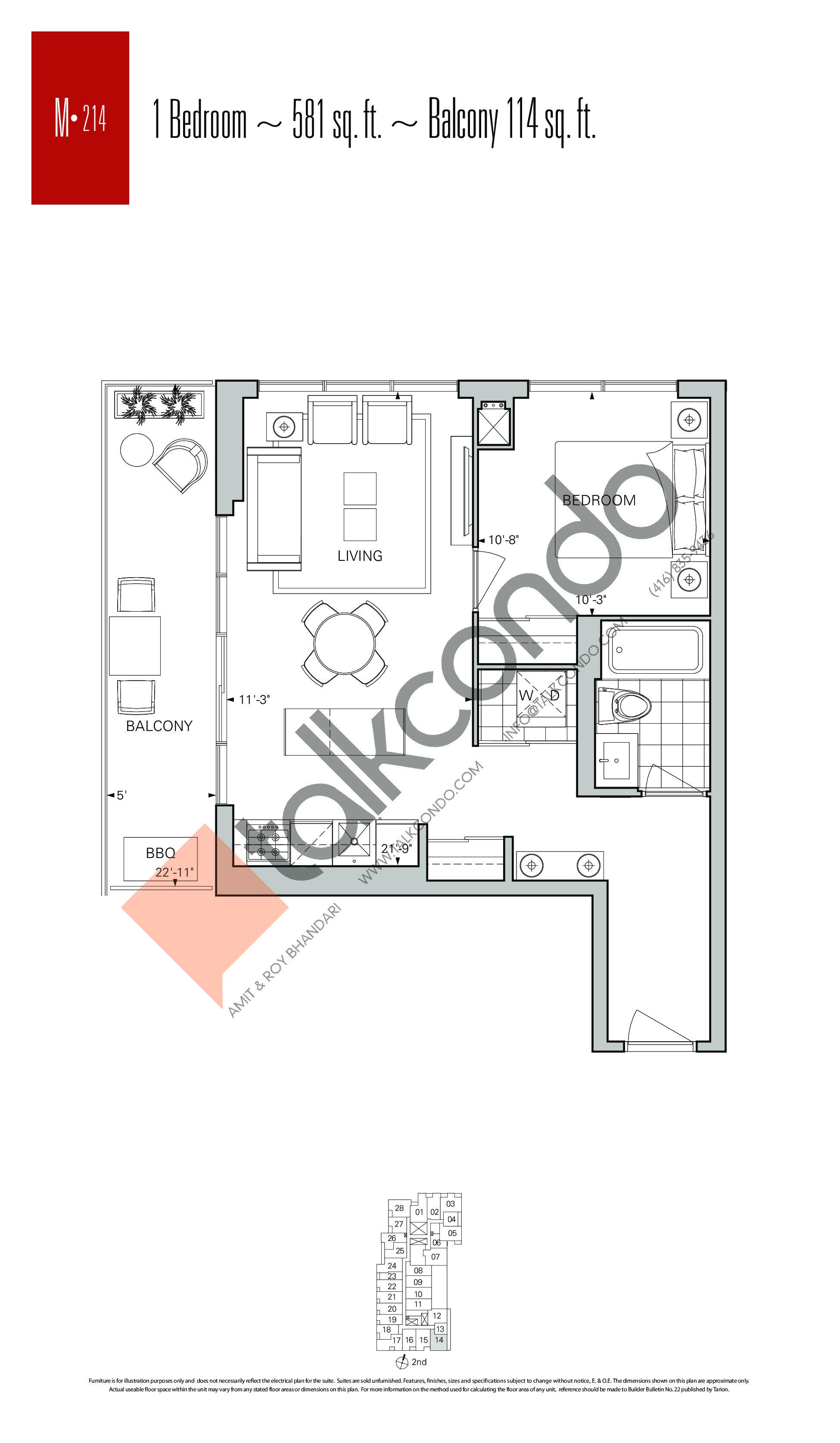 M-214 Floor Plan at Rise Condos - 581 sq.ft
