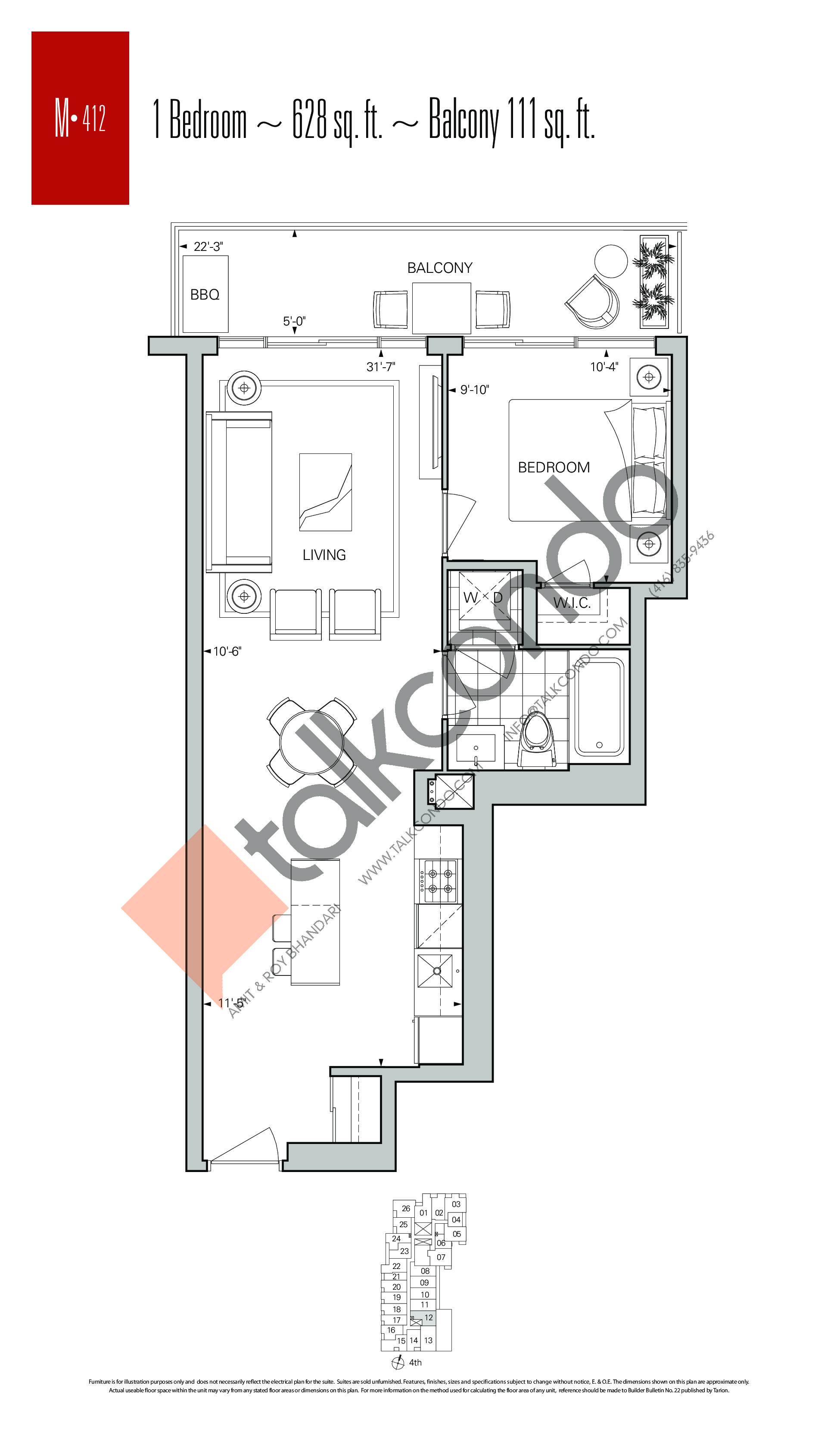 M-412 Floor Plan at Rise Condos - 628 sq.ft