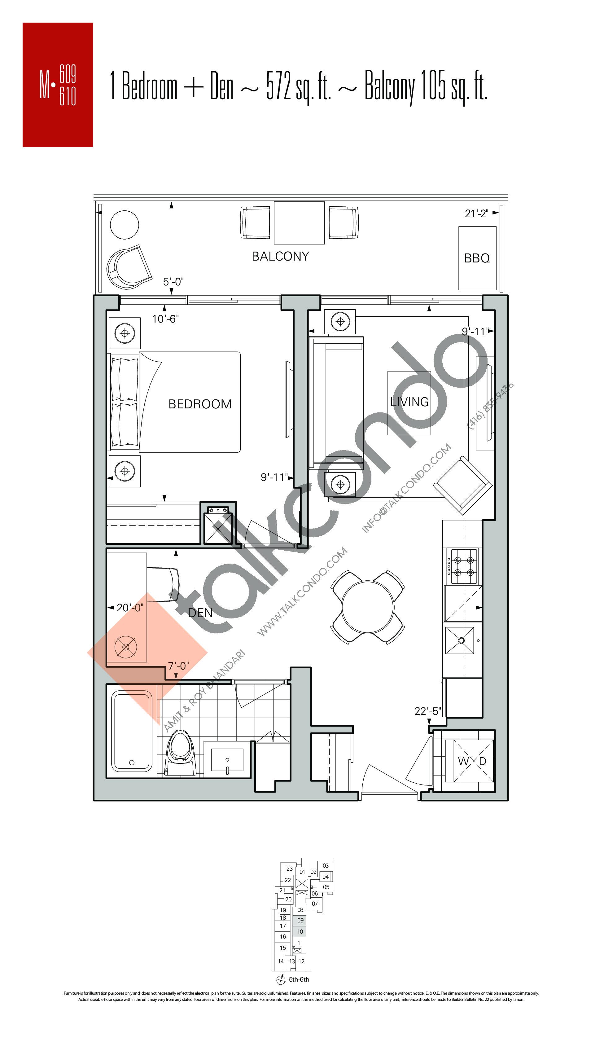 M-609 | M-610 Floor Plan at Rise Condos - 572 sq.ft