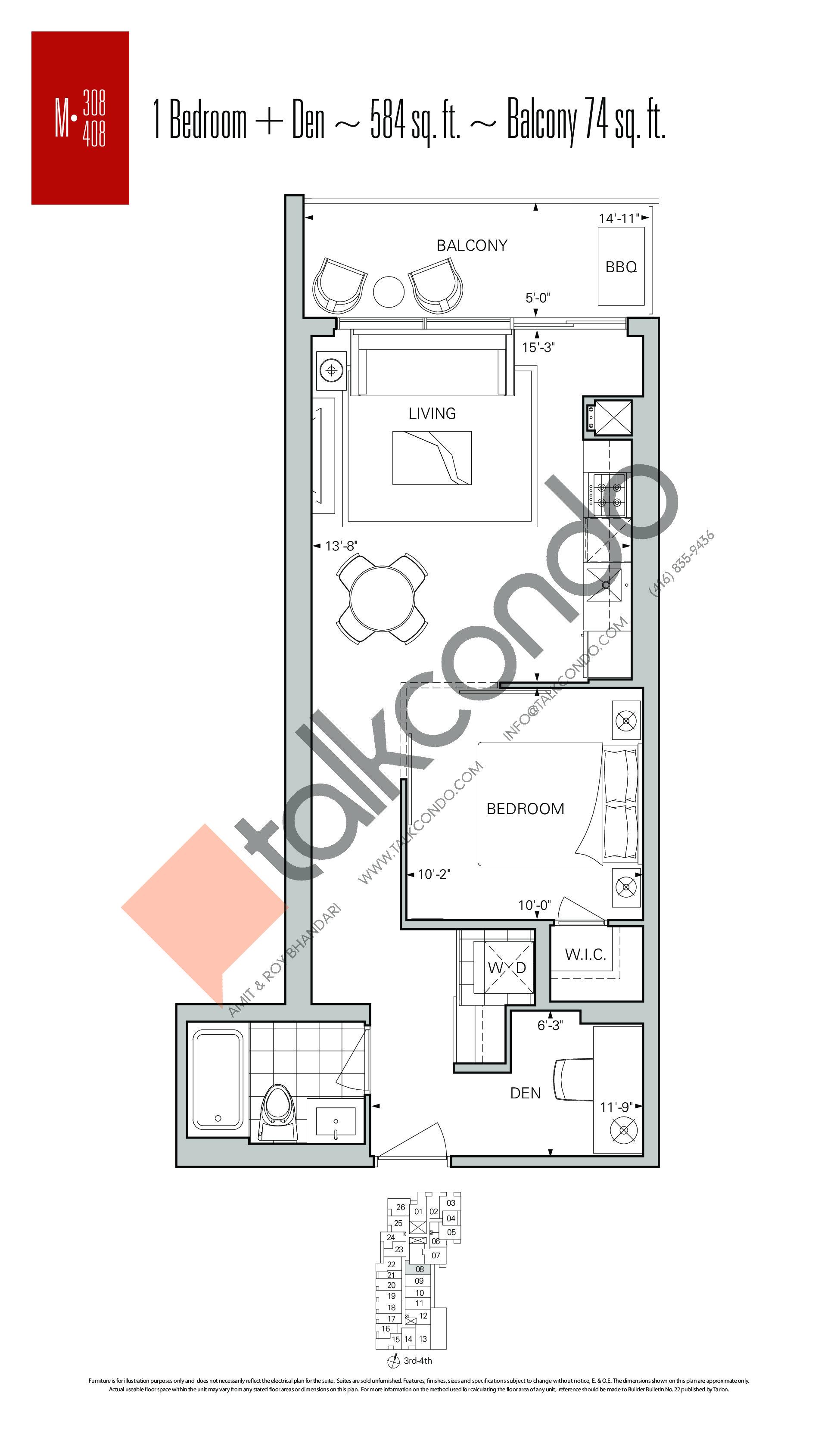 M-308 | M-408 Floor Plan at Rise Condos - 584 sq.ft