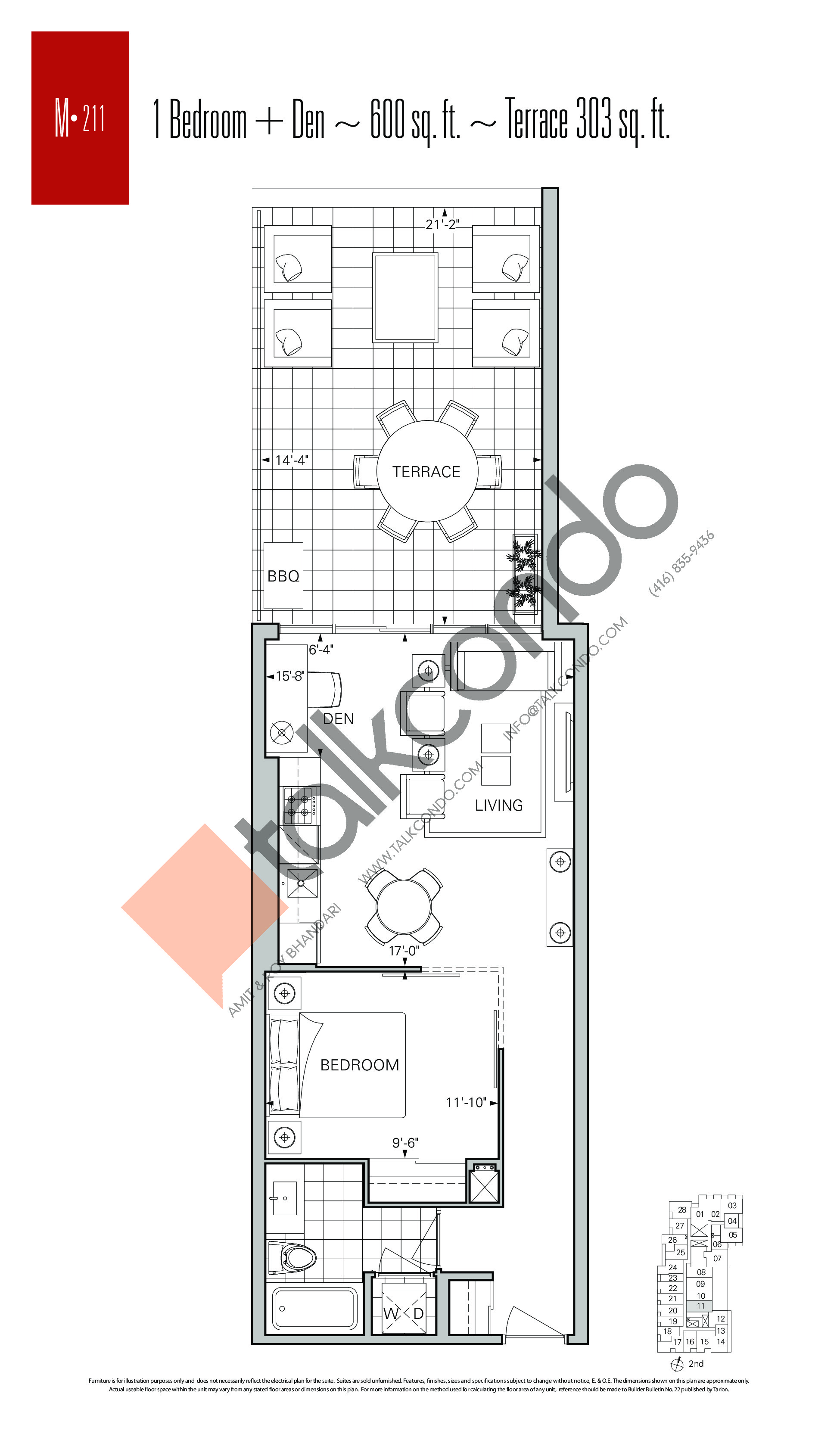 M-211 Floor Plan at Rise Condos - 600 sq.ft