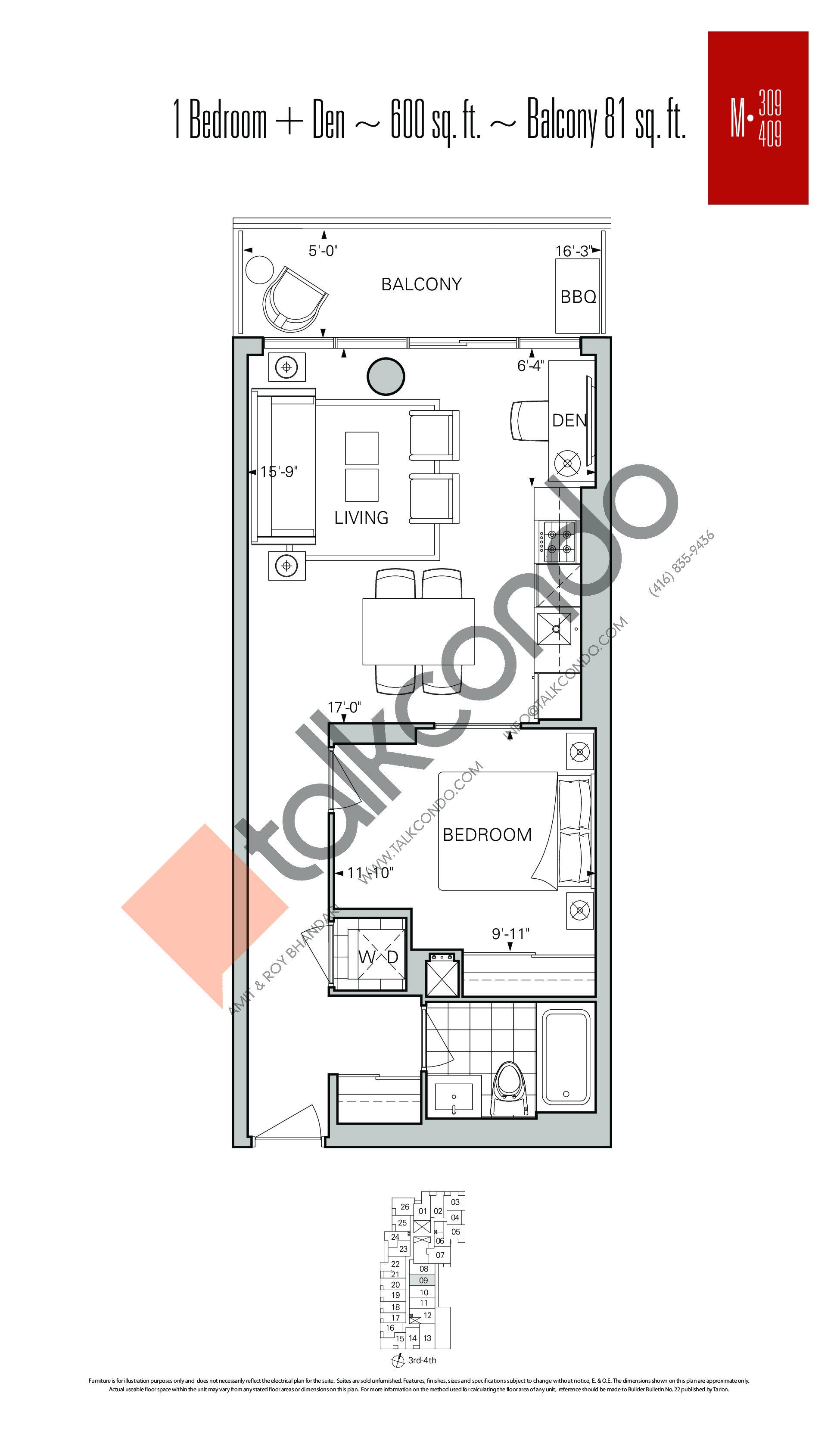 M-309 | M-409 Floor Plan at Rise Condos - 600 sq.ft