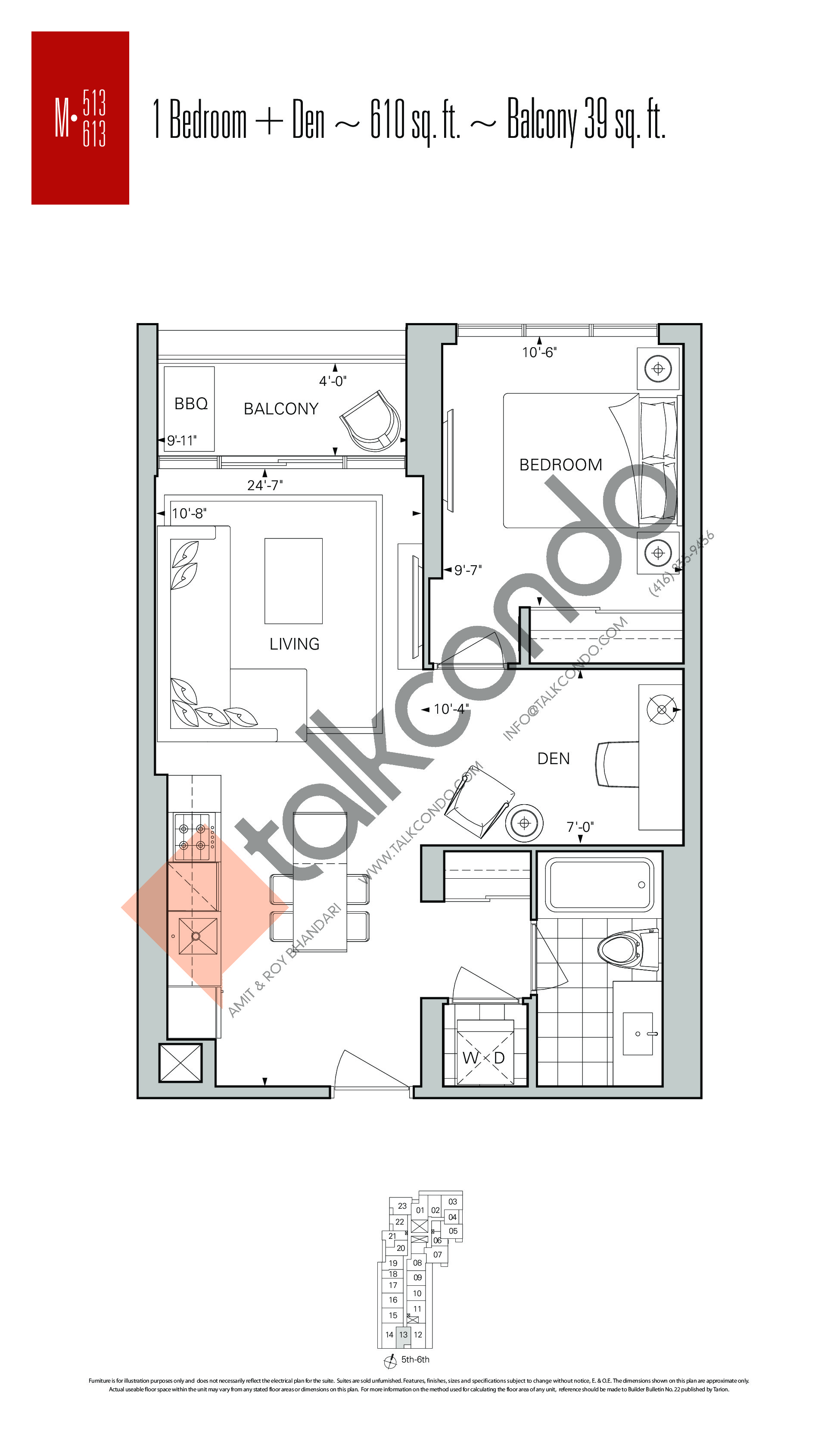 M-513 | M-613 Floor Plan at Rise Condos - 610 sq.ft
