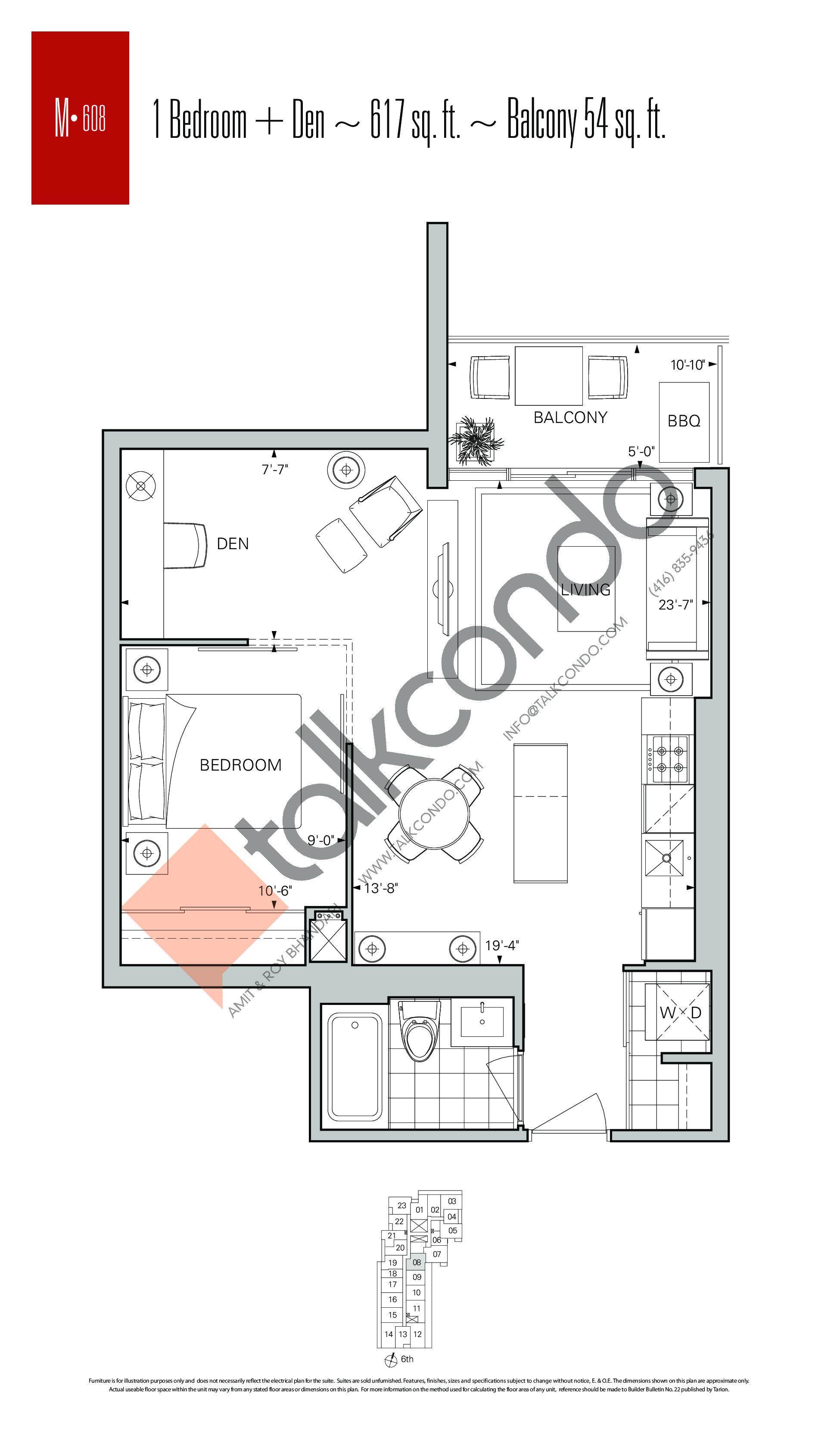 M-608 Floor Plan at Rise Condos - 617 sq.ft
