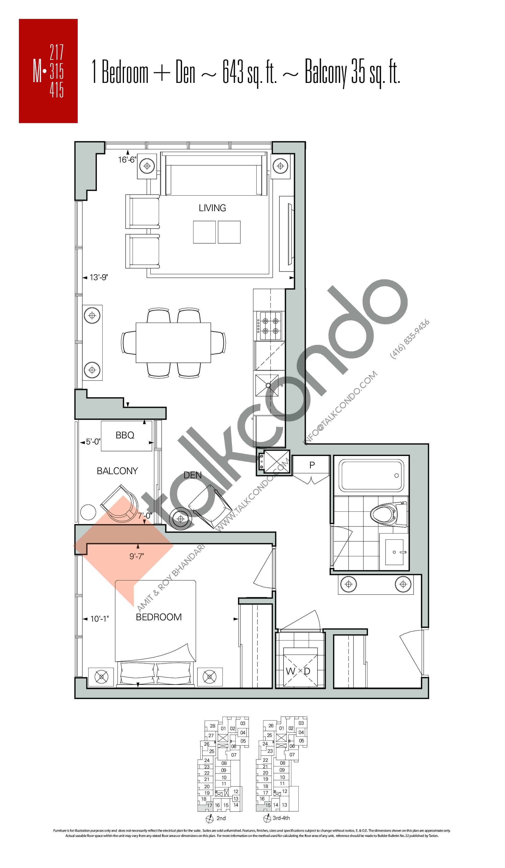 M-217 | M-315 | M-415 Floor Plan at Rise Condos - 643 sq.ft