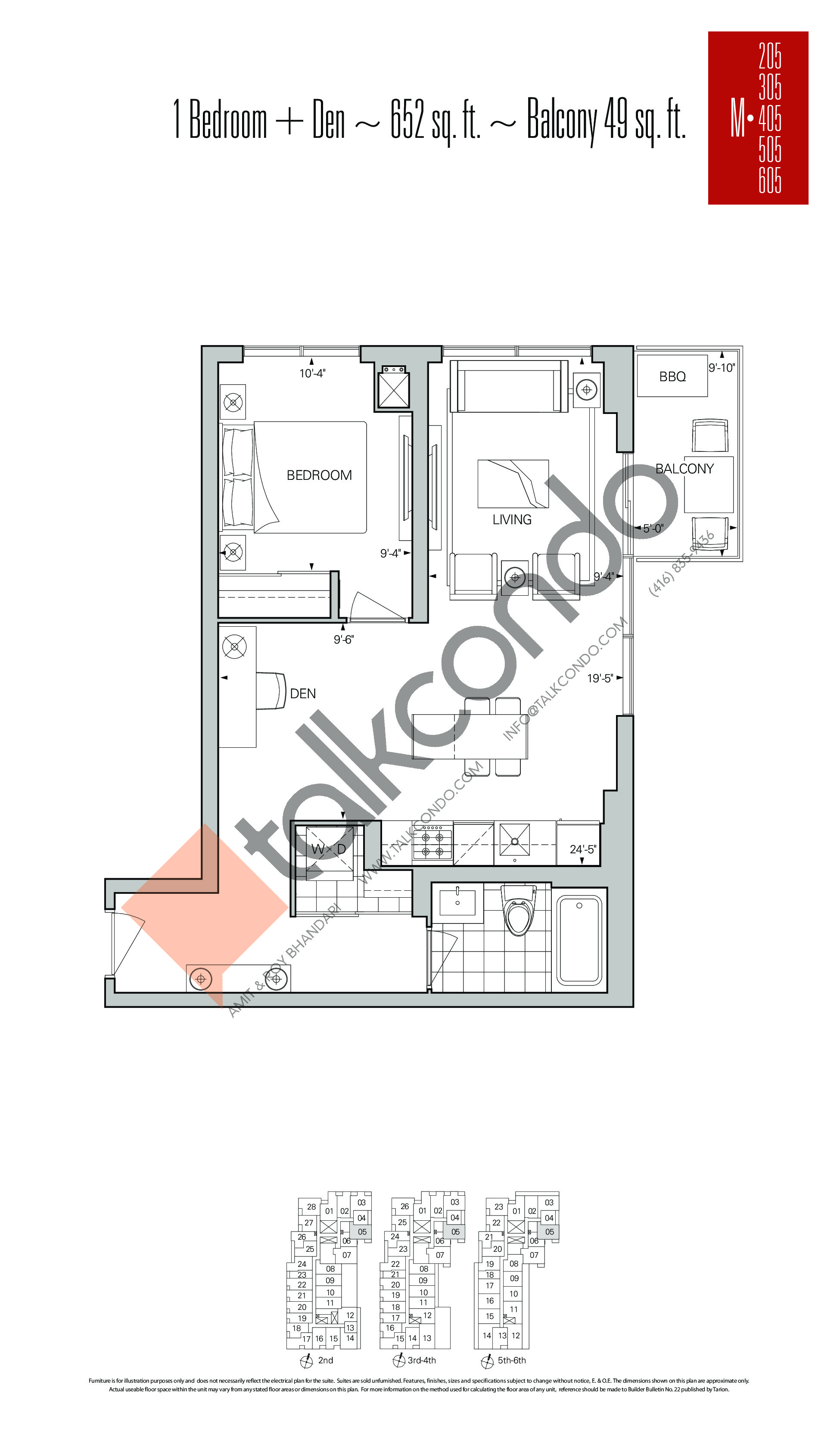 M-05 Floor Plan at Rise Condos - 652 sq.ft