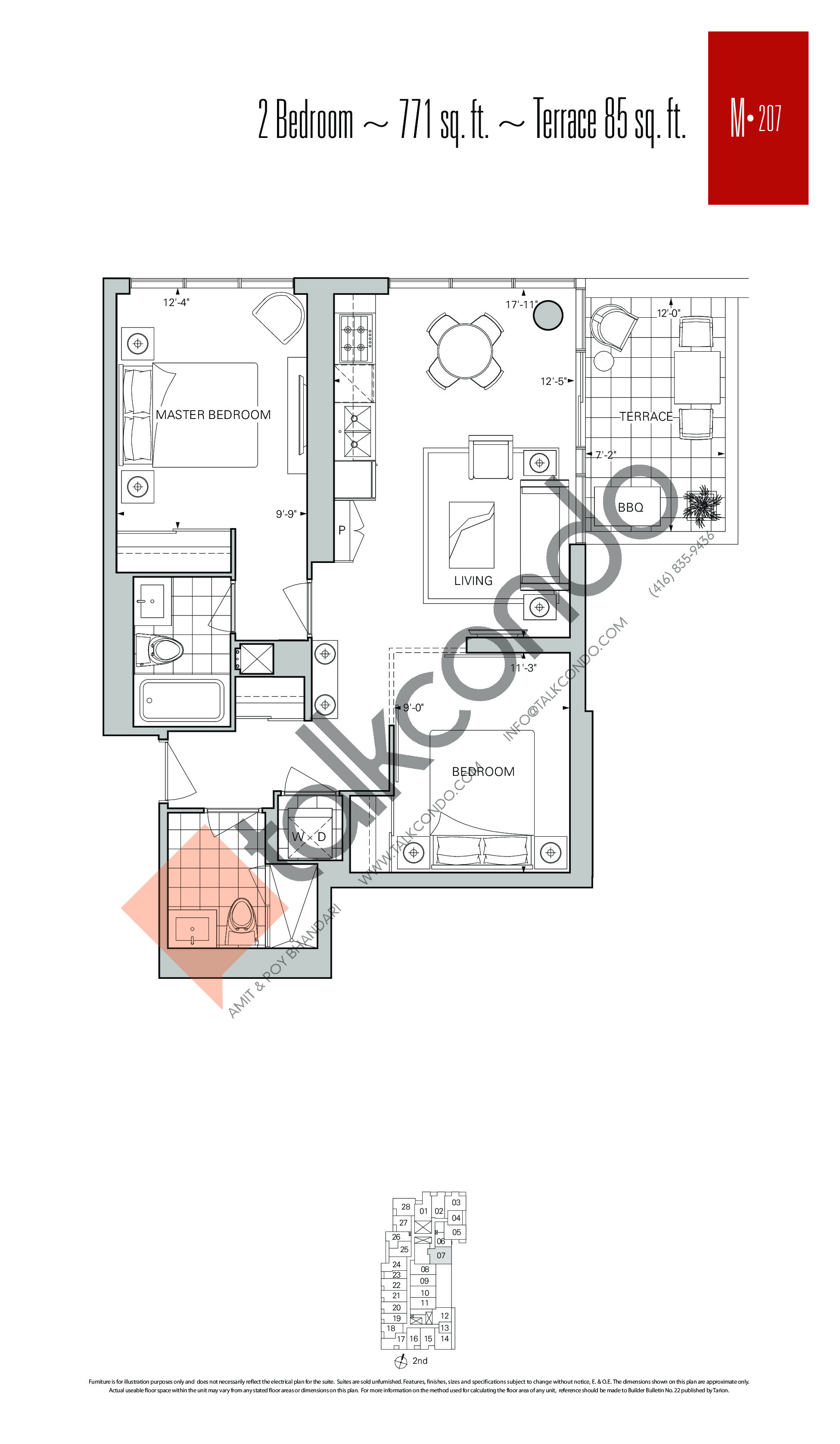 M-207 Floor Plan at Rise Condos - 771 sq.ft