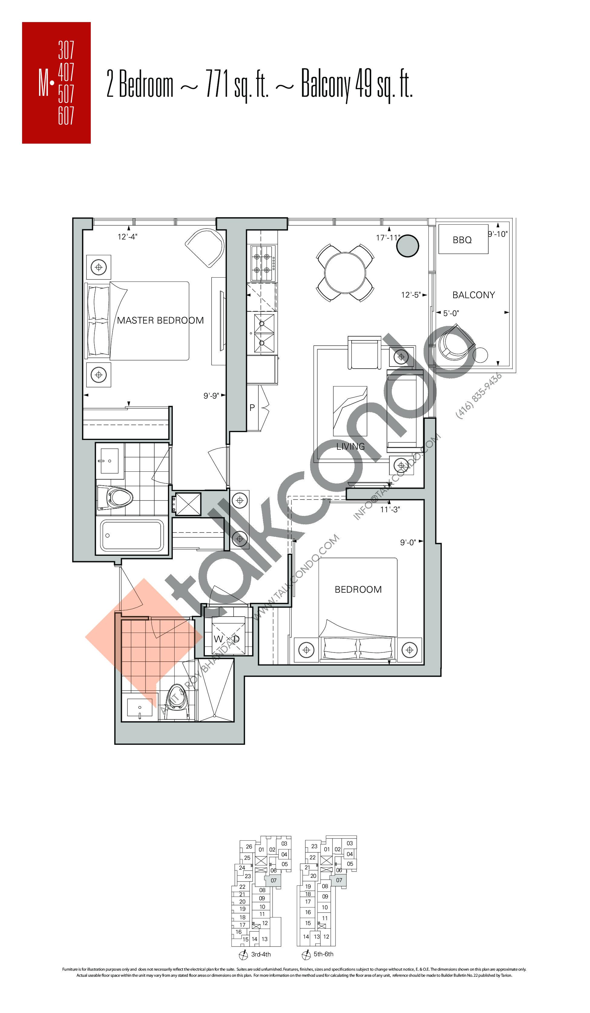 M-07 Floor Plan at Rise Condos - 771 sq.ft