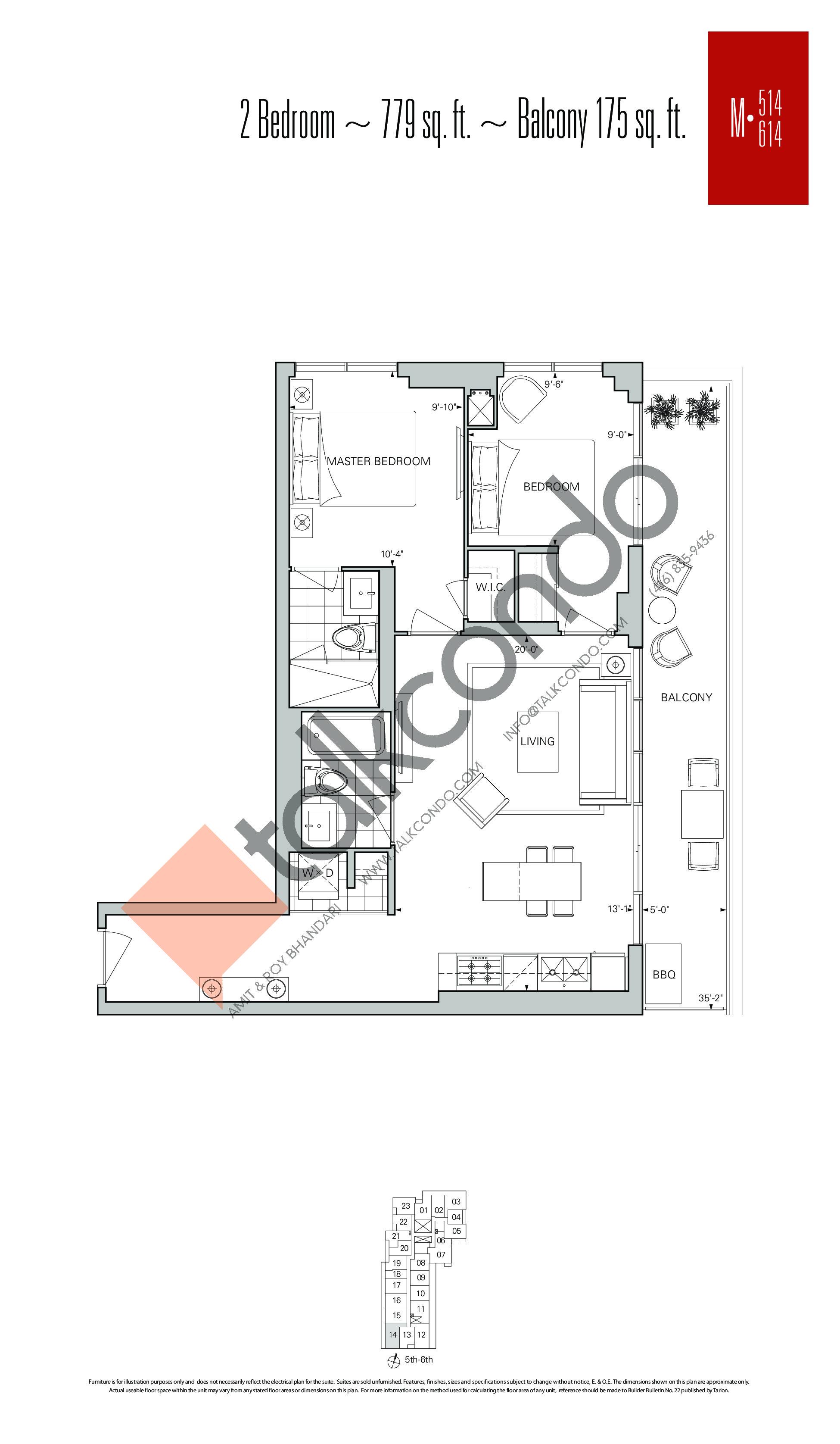 M-514 | M-614 Floor Plan at Rise Condos - 779 sq.ft