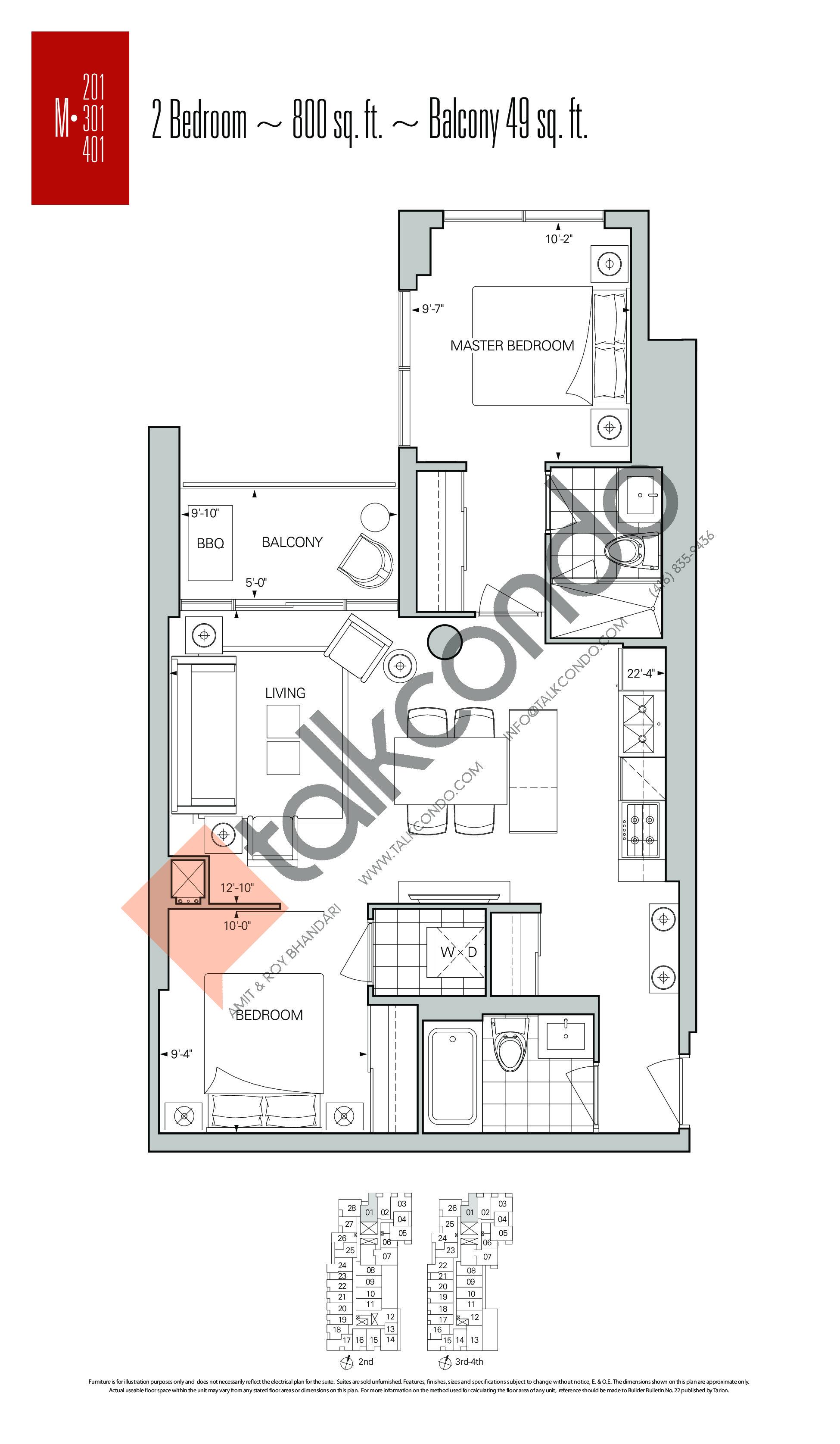M-01 Floor Plan at Rise Condos - 800 sq.ft