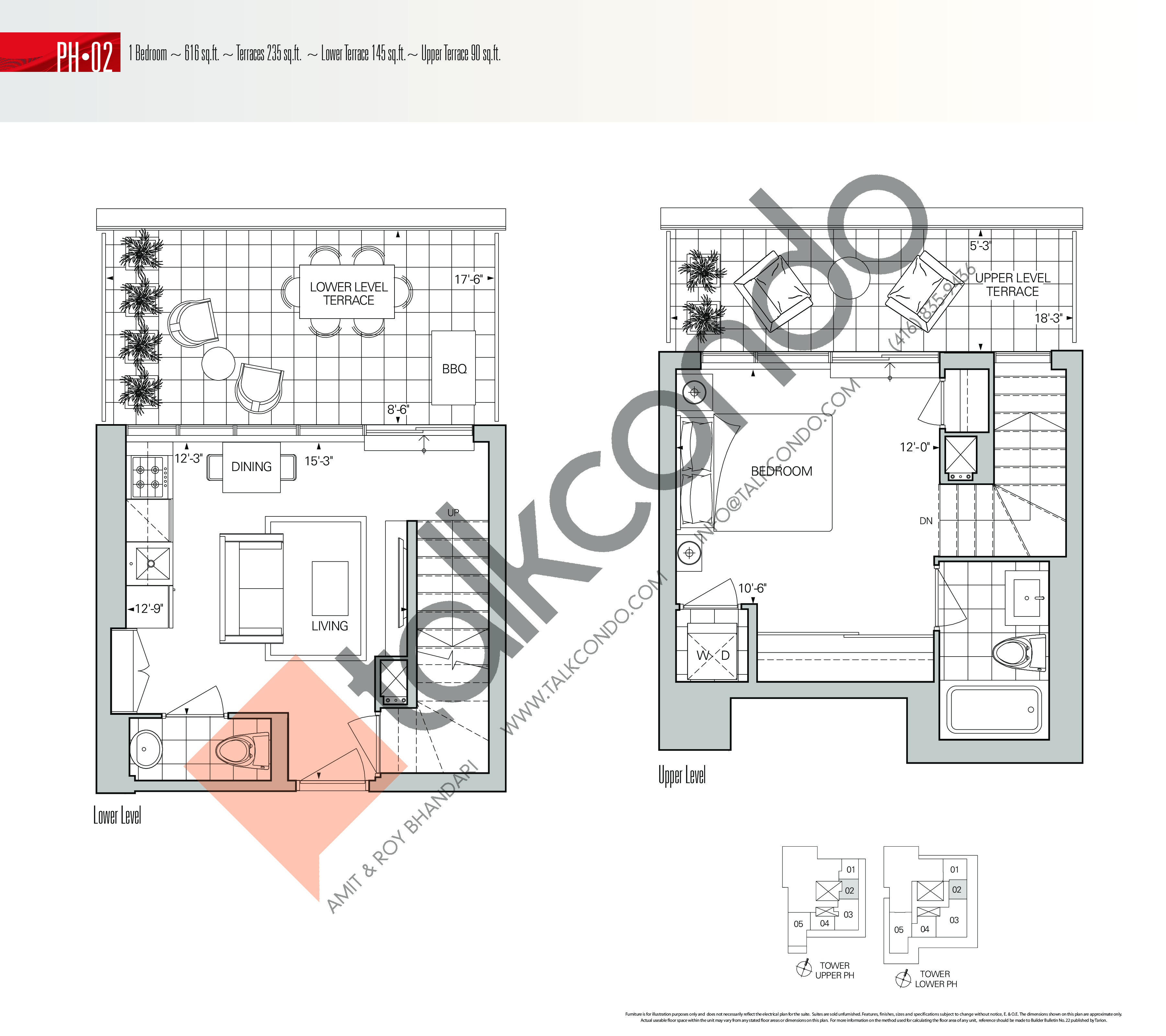 PH-02 Floor Plan at Rise Condos - 616 sq.ft