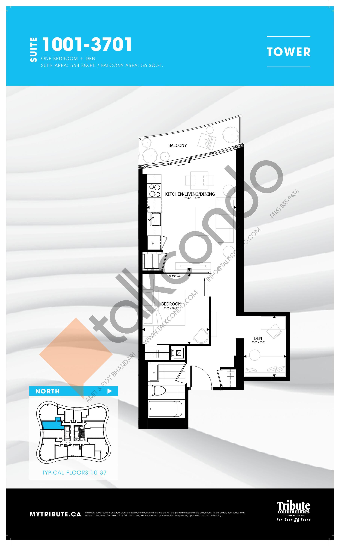1001-3701 Floor Plan at Stanley Condos - 564 sq.ft
