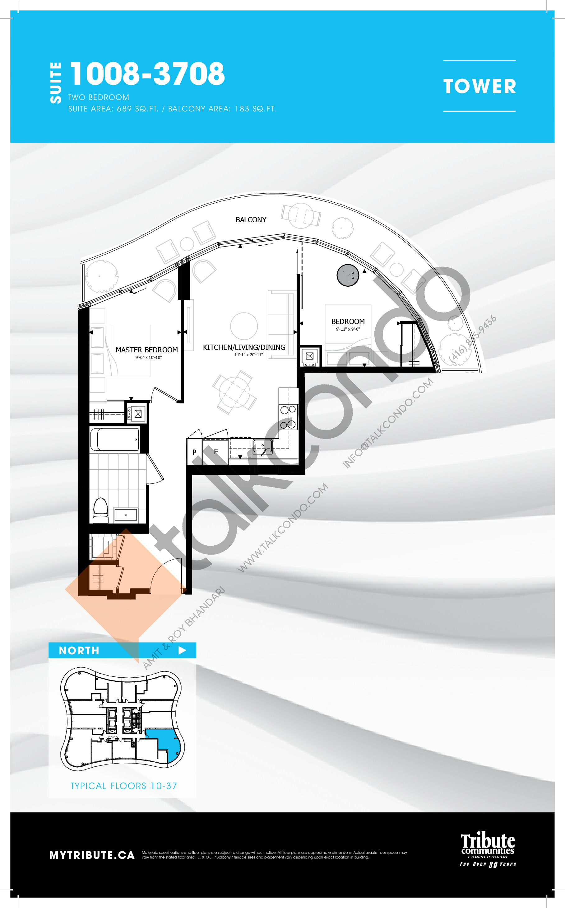 1008-3708 Floor Plan at Stanley Condos - 689 sq.ft