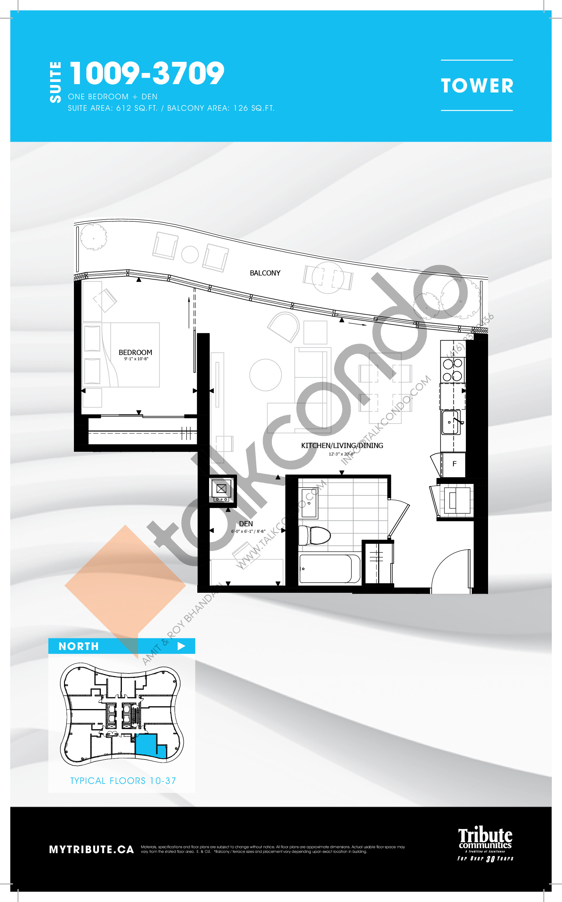 1009-3709 Floor Plan at Stanley Condos - 612 sq.ft