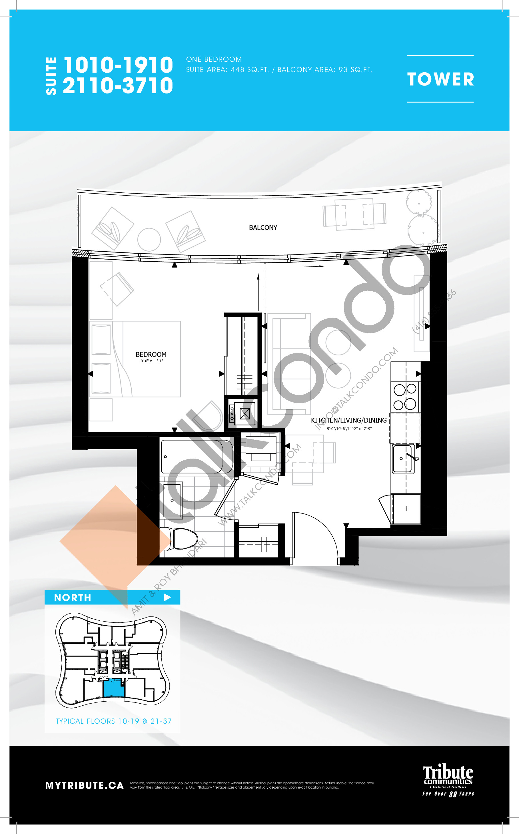 1010-1910 | 2110-3710 Floor Plan at Stanley Condos - 448 sq.ft