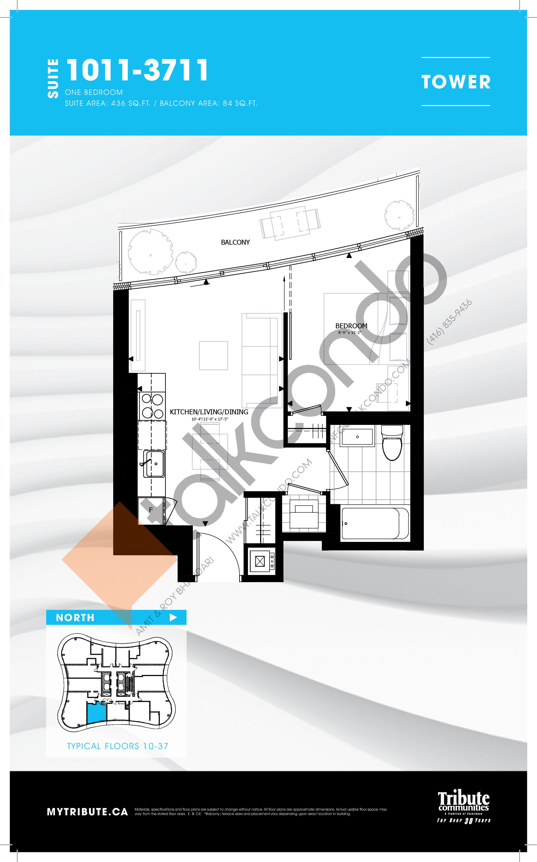1011-3711 Floor Plan at Stanley Condos - 436 sq.ft