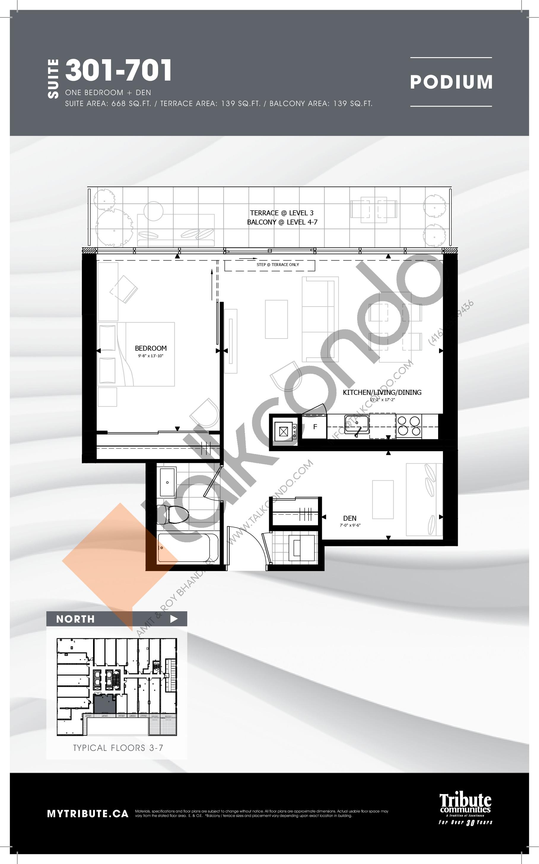 301-701 Floor Plan at Stanley Condos - 668 sq.ft