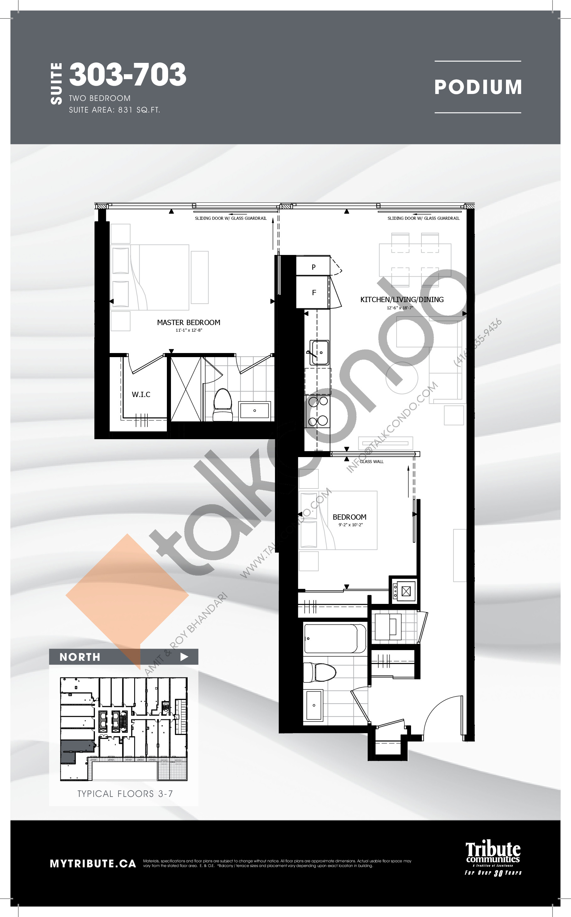 303-703 Floor Plan at Stanley Condos - 831 sq.ft