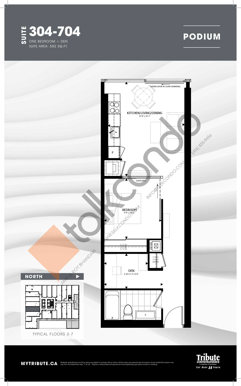 304-704 Floor Plan at Stanley Condos - 582 sq.ft